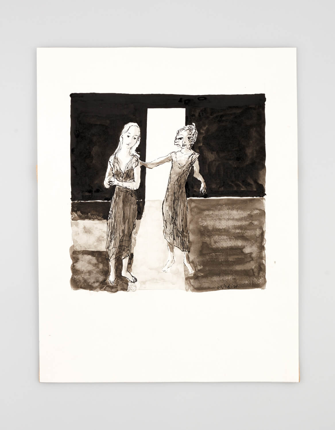 JB002 - Two Women Dressing - 2001 - 50 x 35 cm - Indian ink and wash on paper