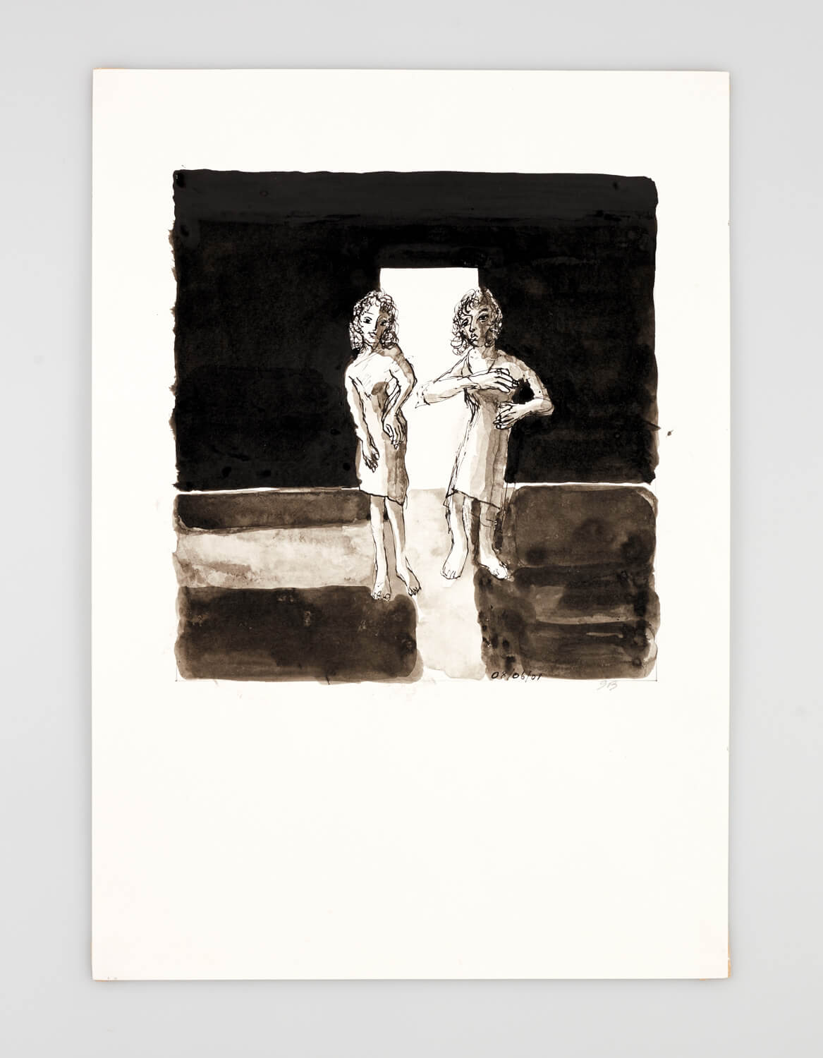 JB003 - Two Women Dressing - 2001 - 50 x 35 cm - Indian ink and wash on paper