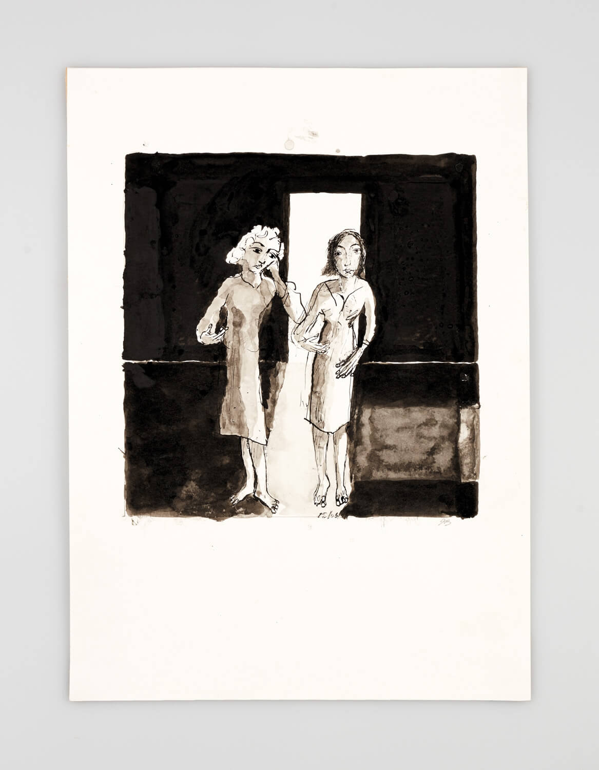 JB004 - Two Women Dressing - 2001 - 50 x 35 cm - Indian ink and wash on paper