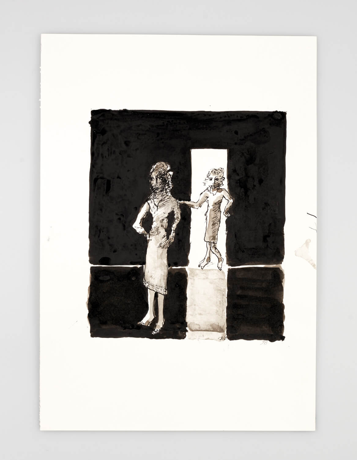 JB006 - Two Women Dressing - 2001 - 50 x 35 cm - Indian ink and wash on paper