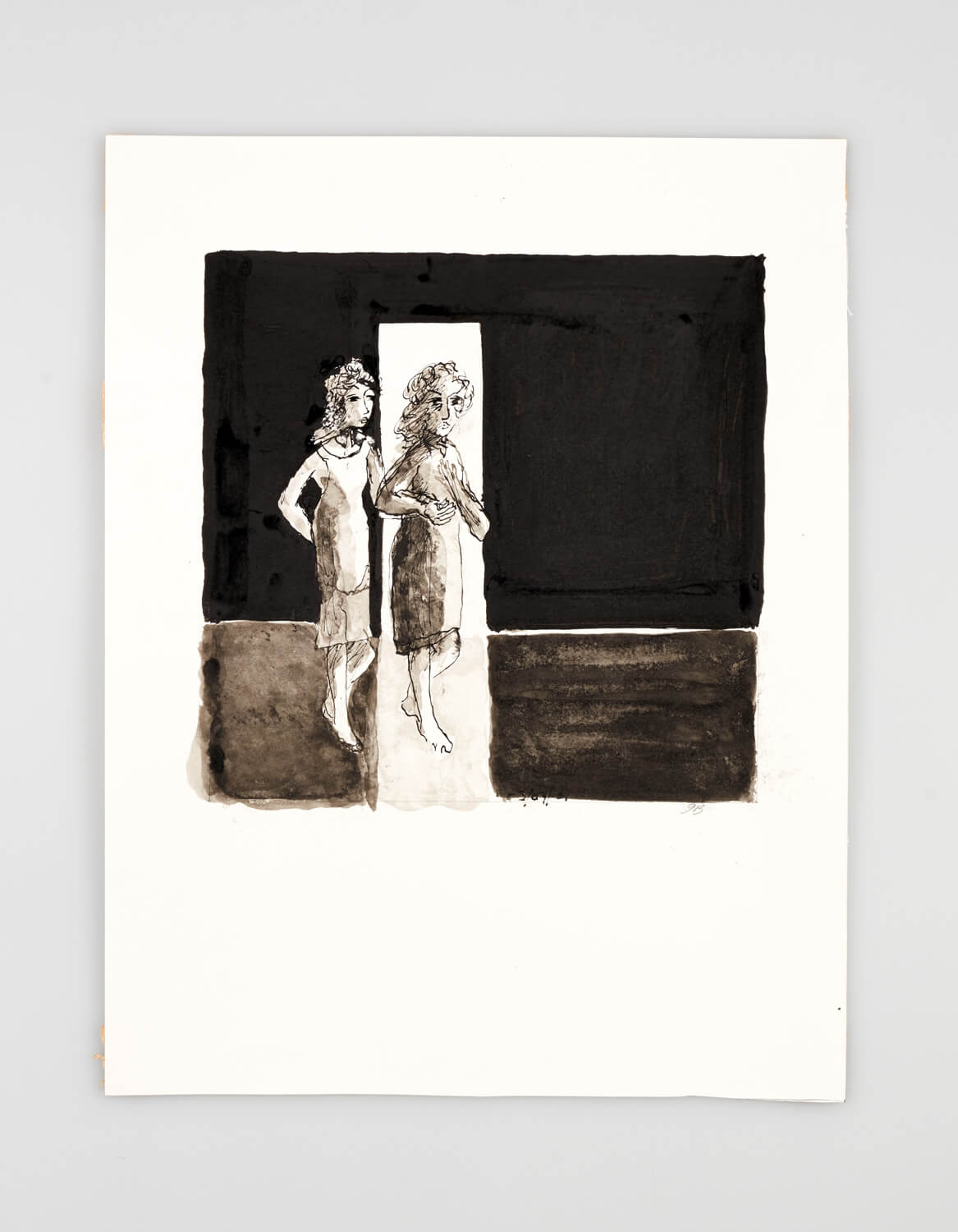 JB009 - Two Women - Come with me - 2001 - 50 x 35 cm - Indian ink and wash on paper