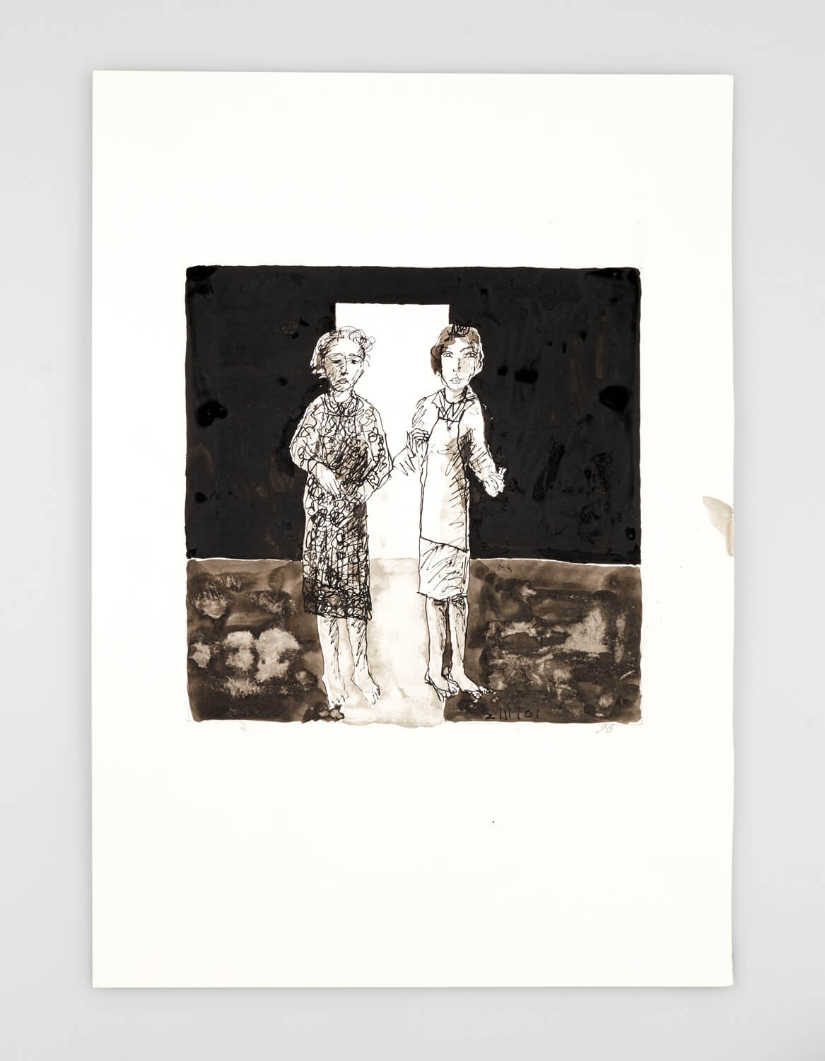 JB019 - Two Women - Being dressed - 2001 - 50 x 35 cm - Indian ink and wash on paper