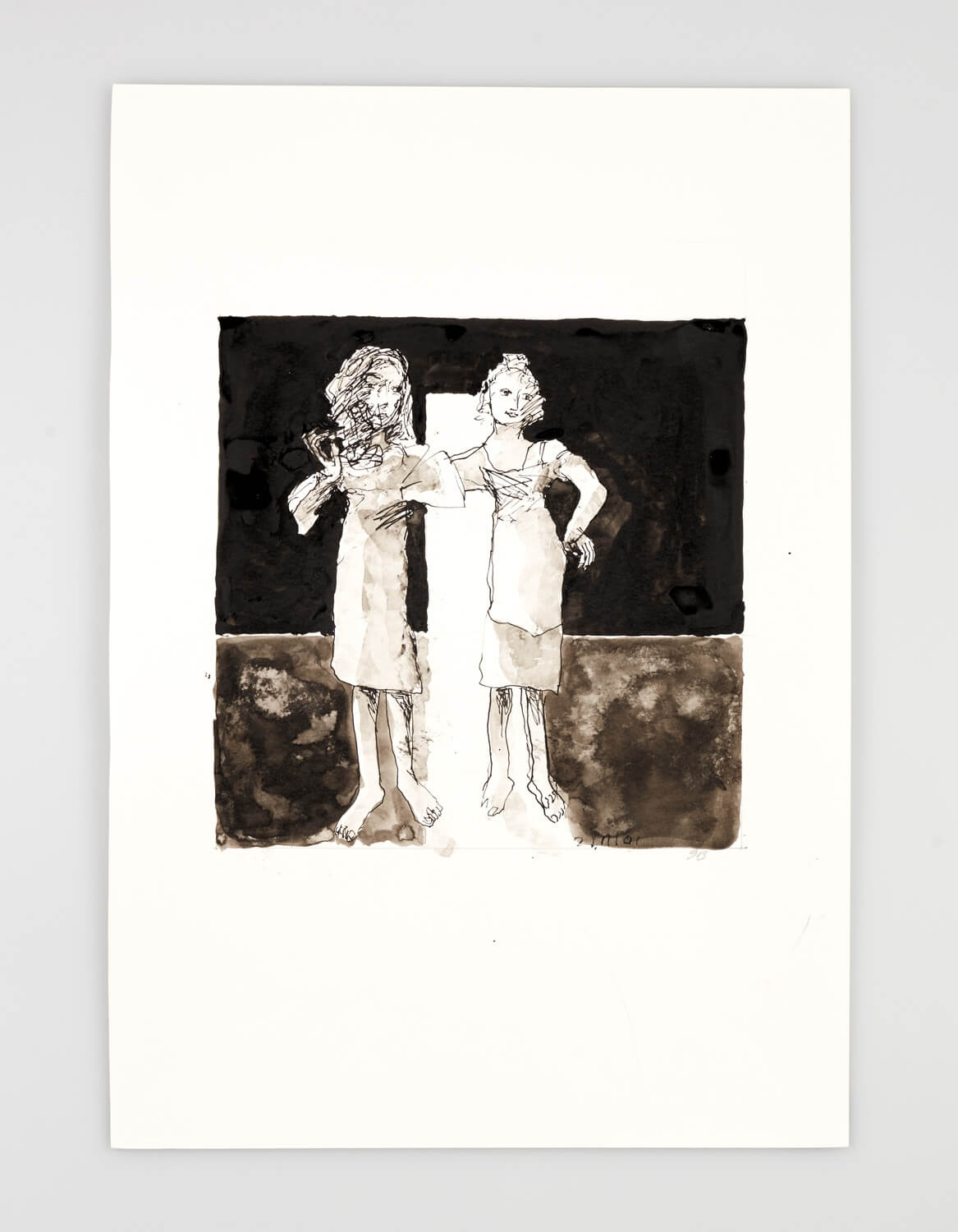 JB020 - Two Women - Being dressed - 2001 - 50 x 35 cm - Indian ink and wash on paper