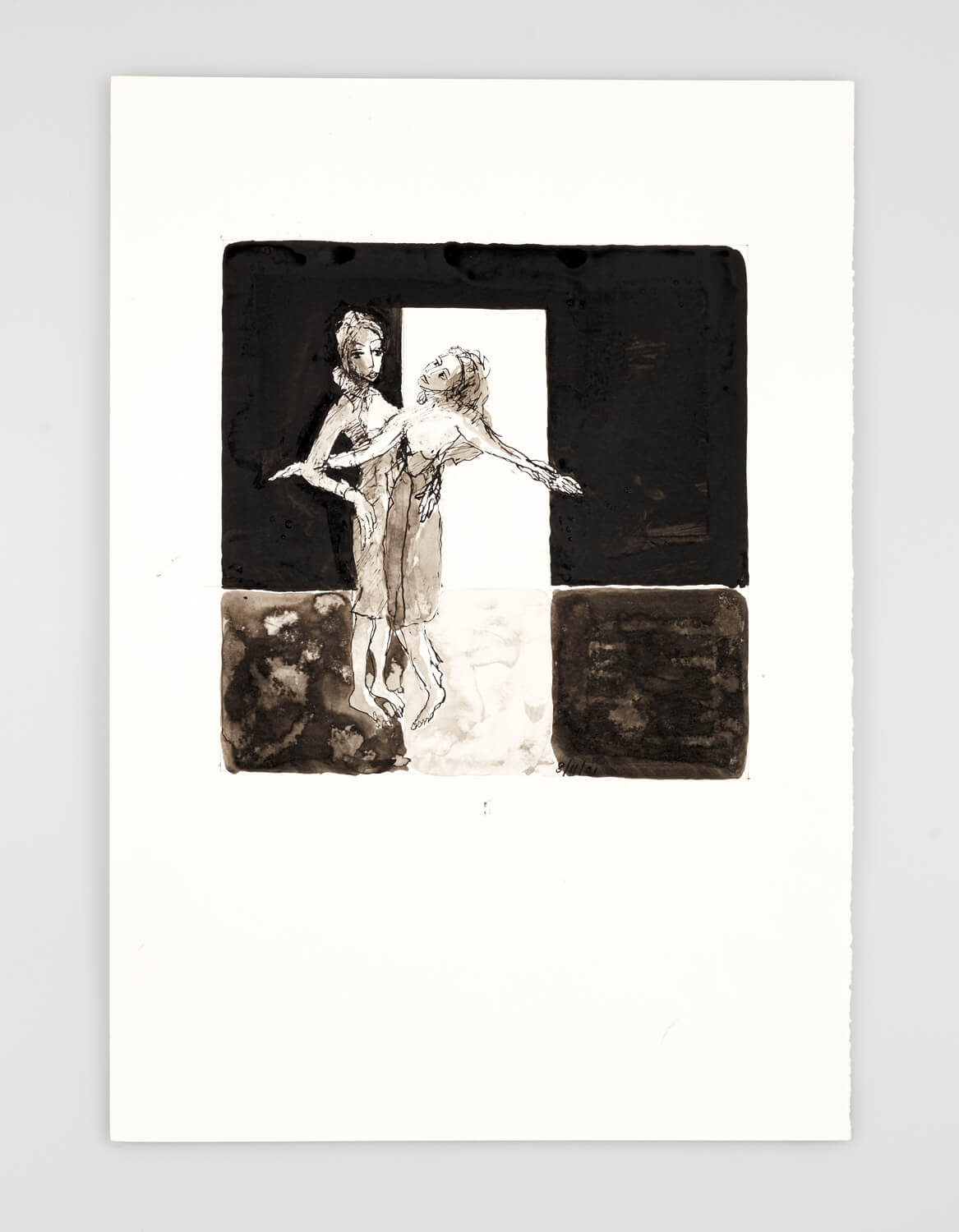 JB022 - Two Women - I'm in love with you - 2001 - 50 x 35 cm - Indian ink and wash on paper