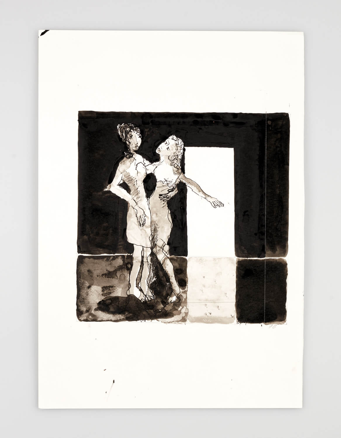 JB023 - Two Women - do you love me_ - 2001 - 50 x 35 cm - Indian ink and wash on paper