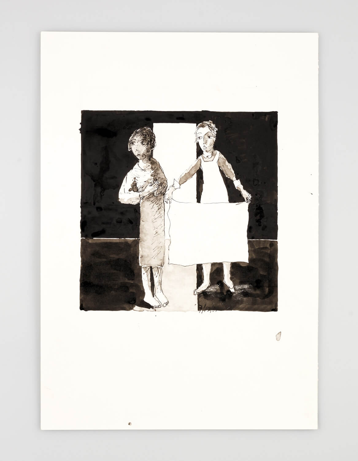 JB043 - Two Women - Being dressed - 2001 - 50 x 35 cm - Indian ink and wash on paper