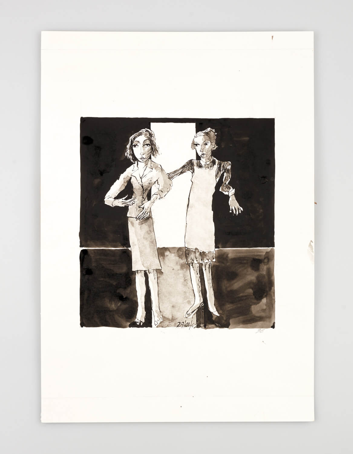 JB051 - Two Women - Being dressed - 2002 - 50 x 35 cm - Indian ink and wash on paper