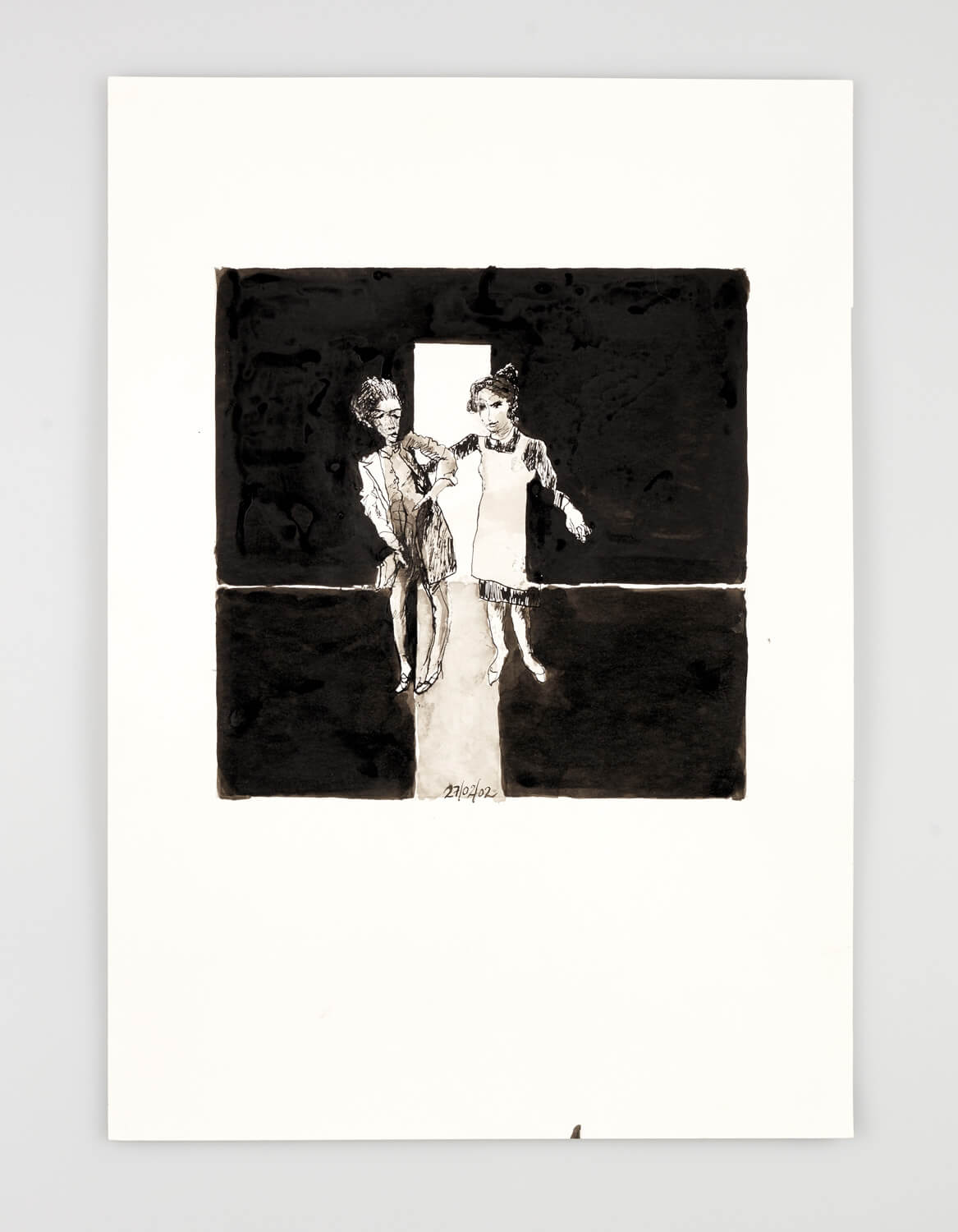 JB054 - Two Women: Getting Undressed - 2002 - 50 x 35 cm - Indian ink and wash on paper