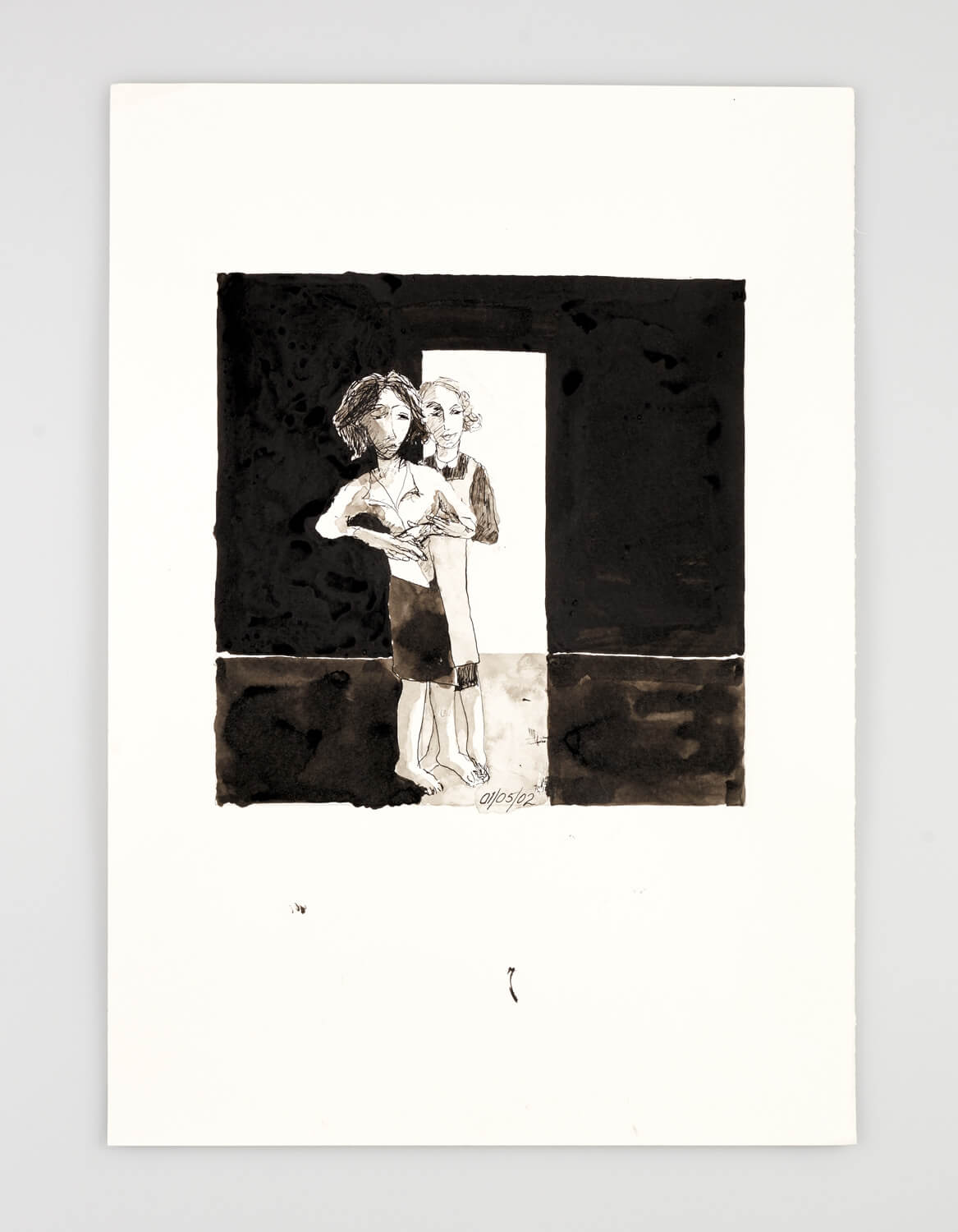 JB065 - Two Women - Being dressed - 2002 - 50 x 35 cm - Indian ink and wash on paper