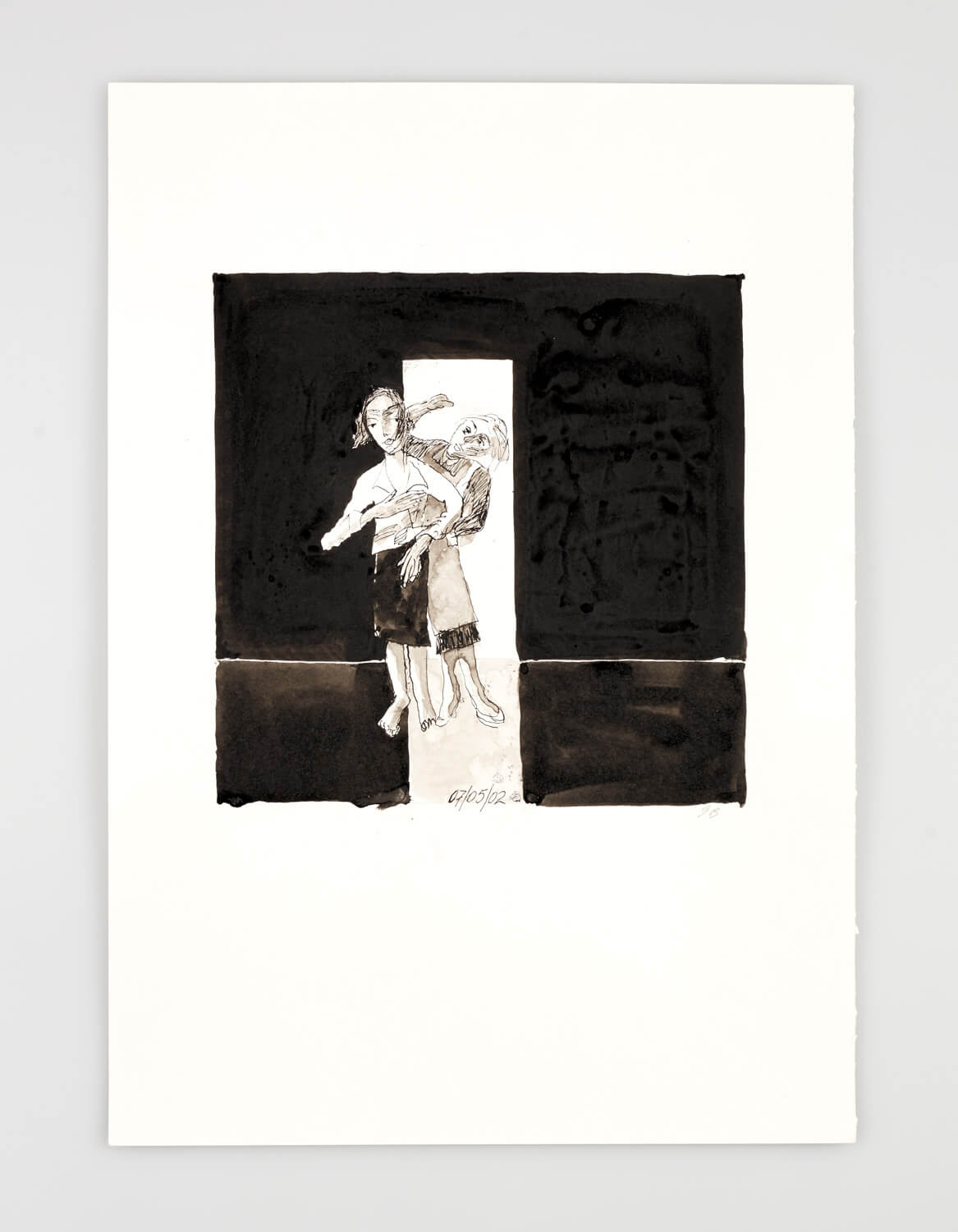 JB067 - Two Women - Perfectly dressed - 2002 - 50 x 35 cm - Indian ink and was
