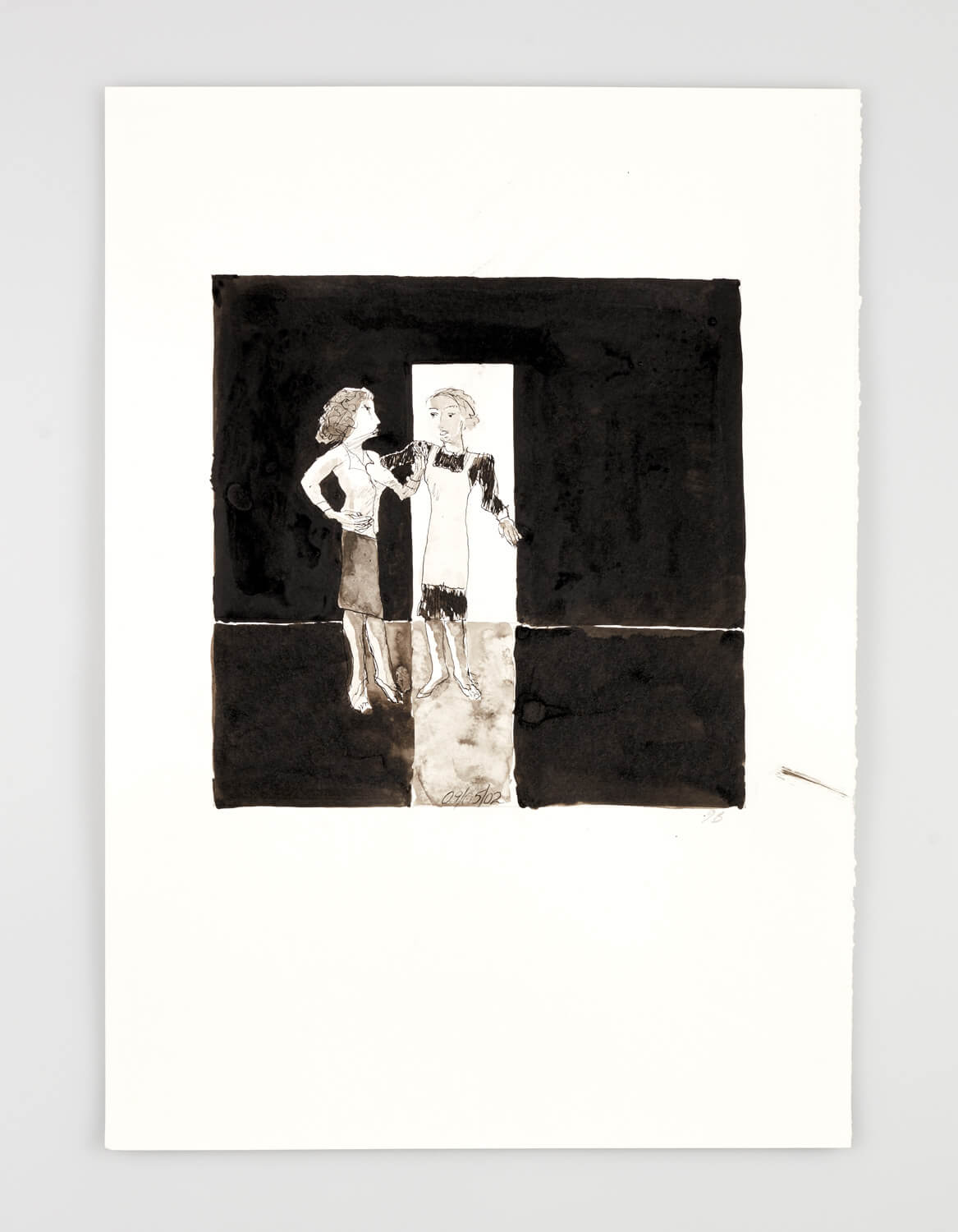 JB068 - Two Women - Being dressed - 2002 - 50 x 35 cm - Indian ink and wash on paper