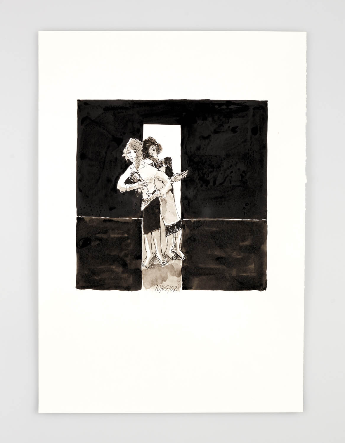 JB069 - Two Women - Being dressed - 2002 - 50 x 35 cm - Indian ink and wash on paper