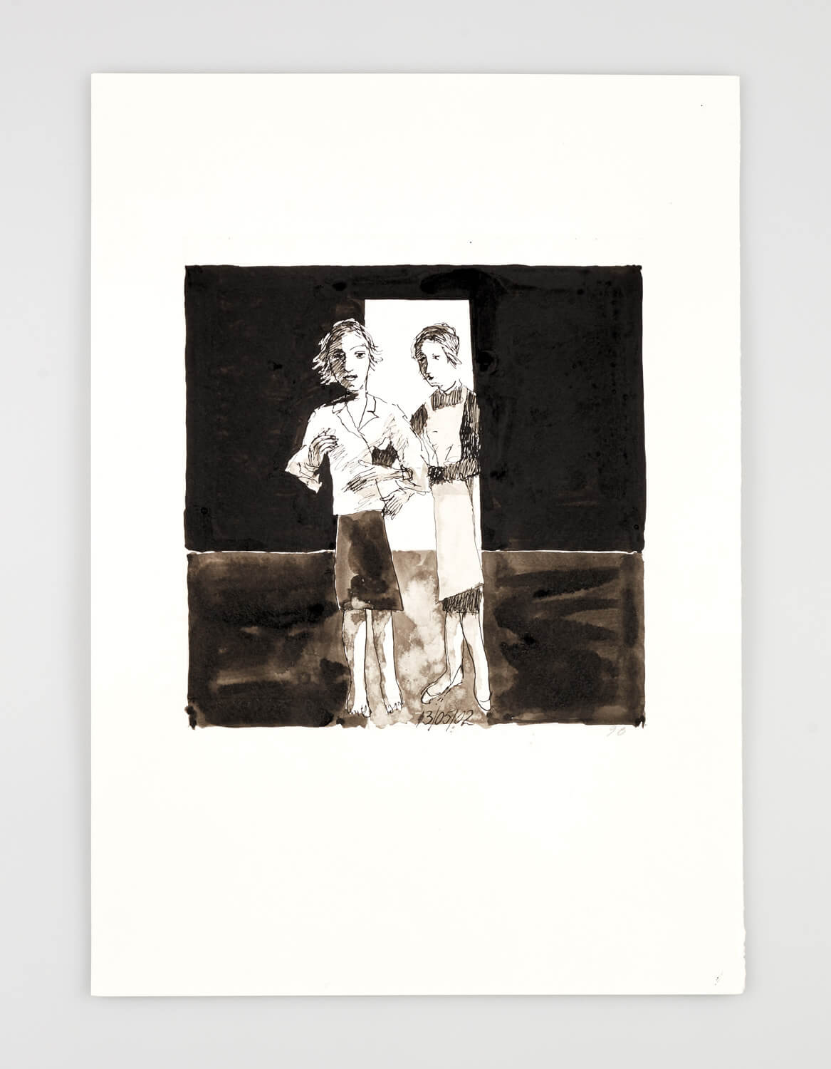 JB070 - Two Women - You look perfect - 2002 - 50 x 35 cm - Indian ink and wash on pape