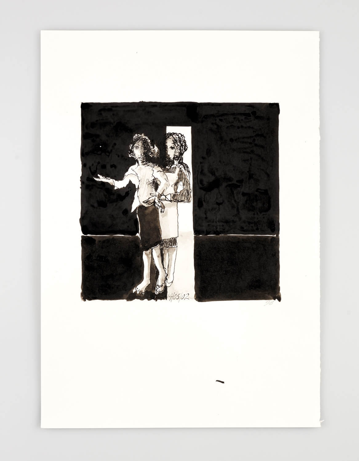 JB072 - Two Women - Being dressed - 2002 - 50 x 35 cm - Indian ink and wash on paper