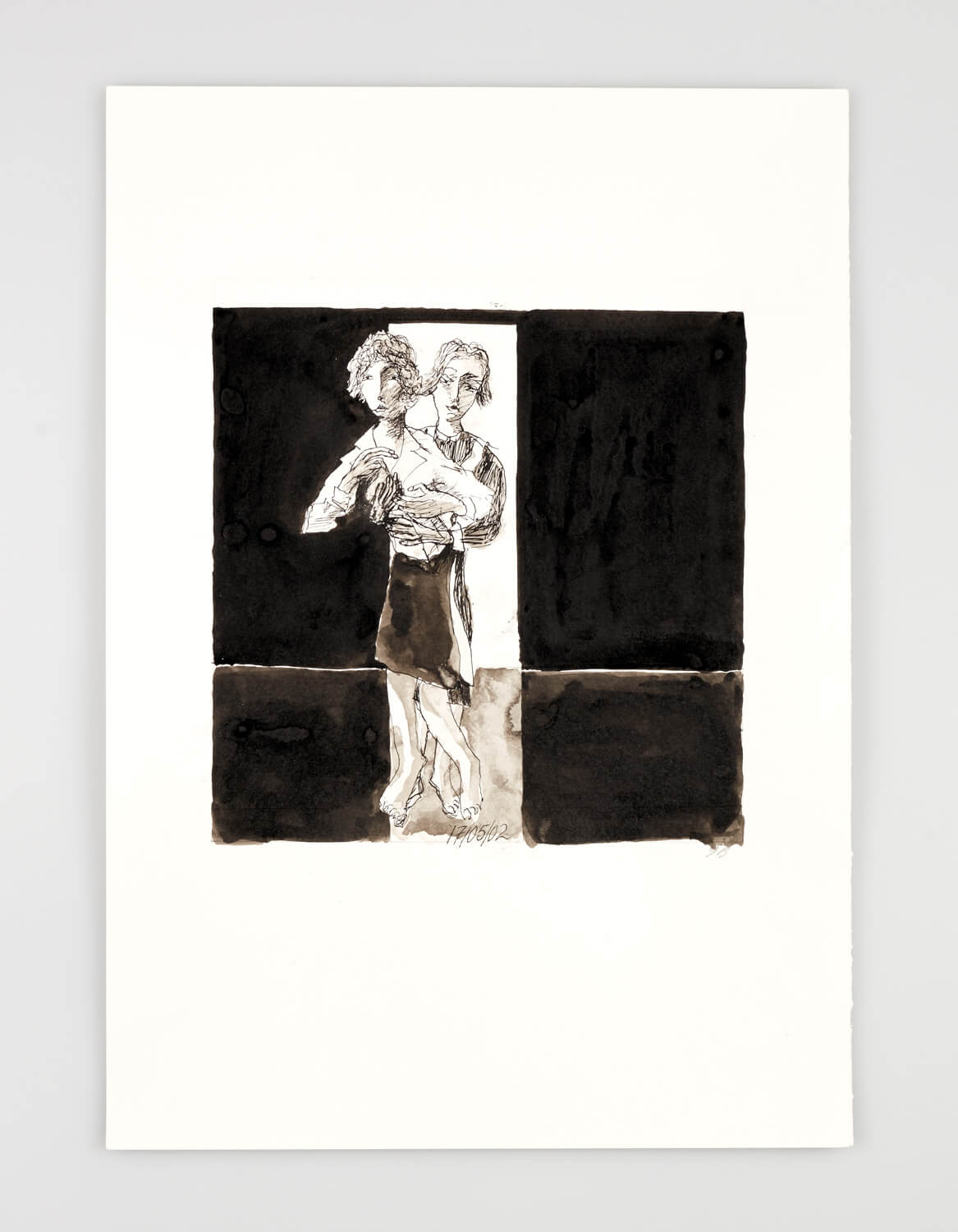 JB074 - Two Women - Being dressed - 2002 - 50 x 35 cm - Indian ink and wash on paper