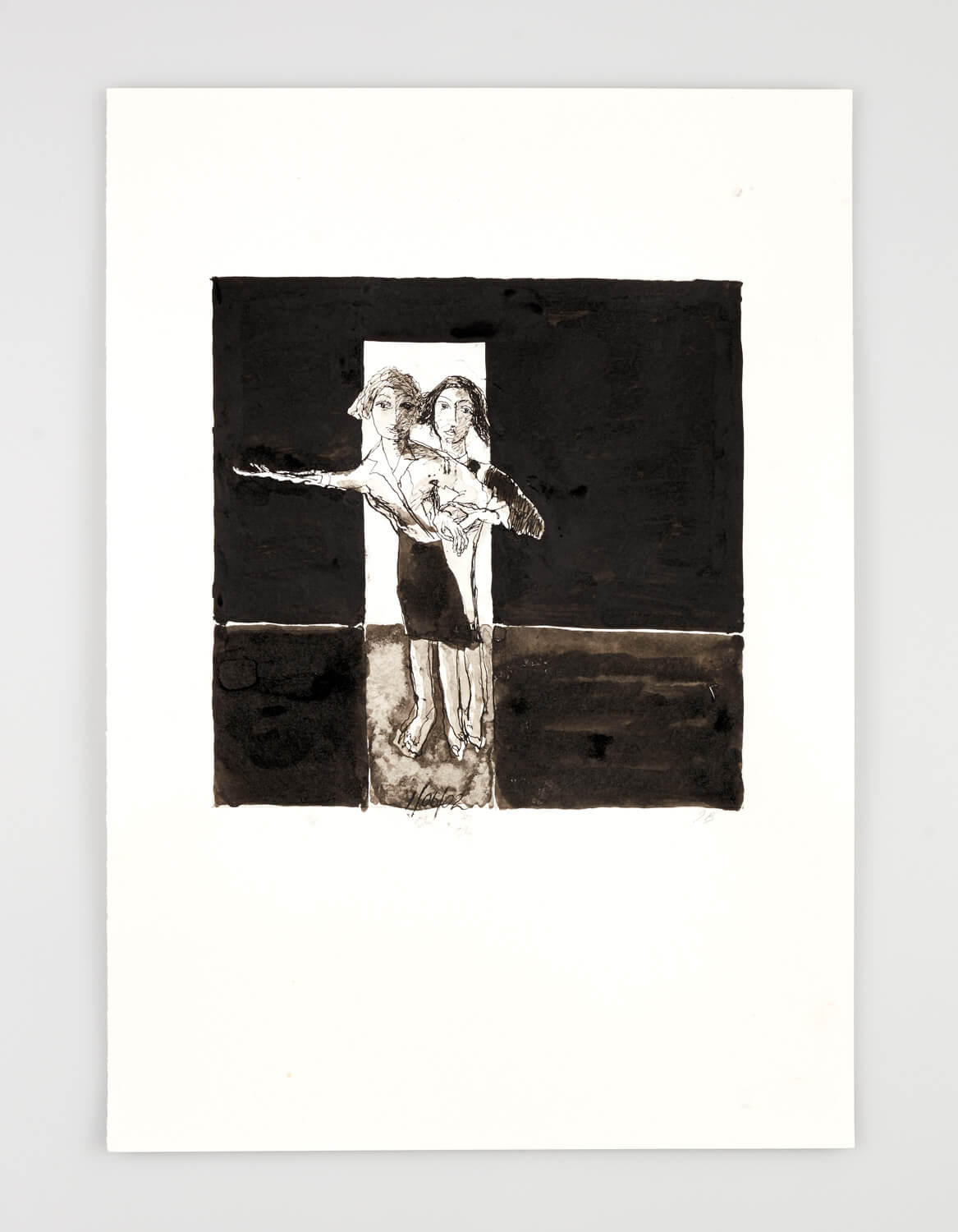 JB079 - Two Women - Being dressed - 2002 - 50 x 35 cm - Indian ink and wash on paper