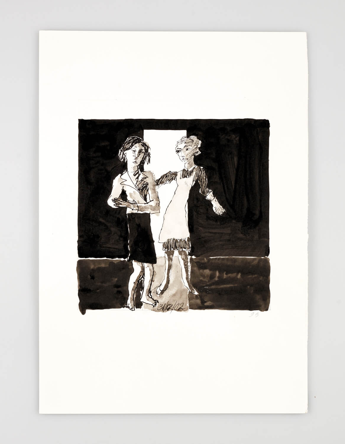 JB090 - Two Women - Being dressed - 2002 - 50 x 35 cm - Indian ink and wash on paper