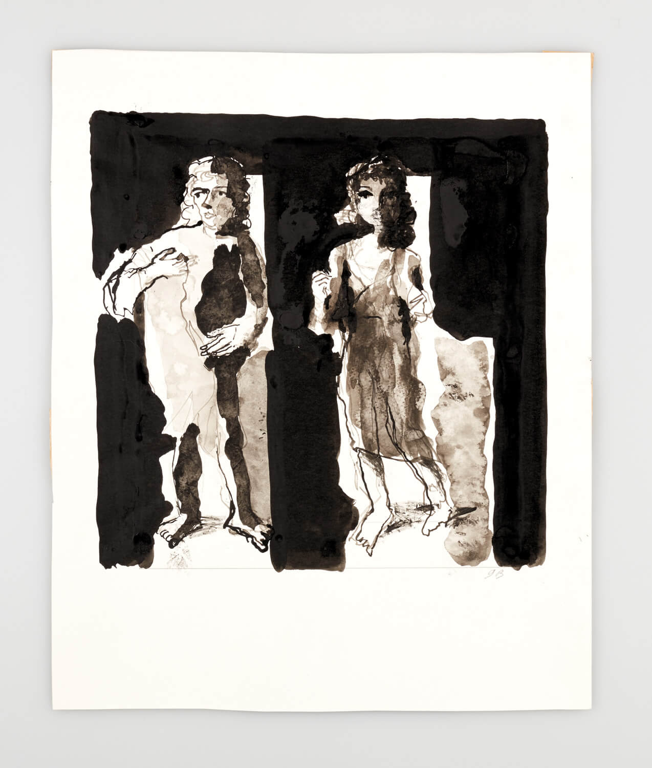 JB097 - Man and woman - 2000 - 29 x 29 cm - Indian ink and wash on paper