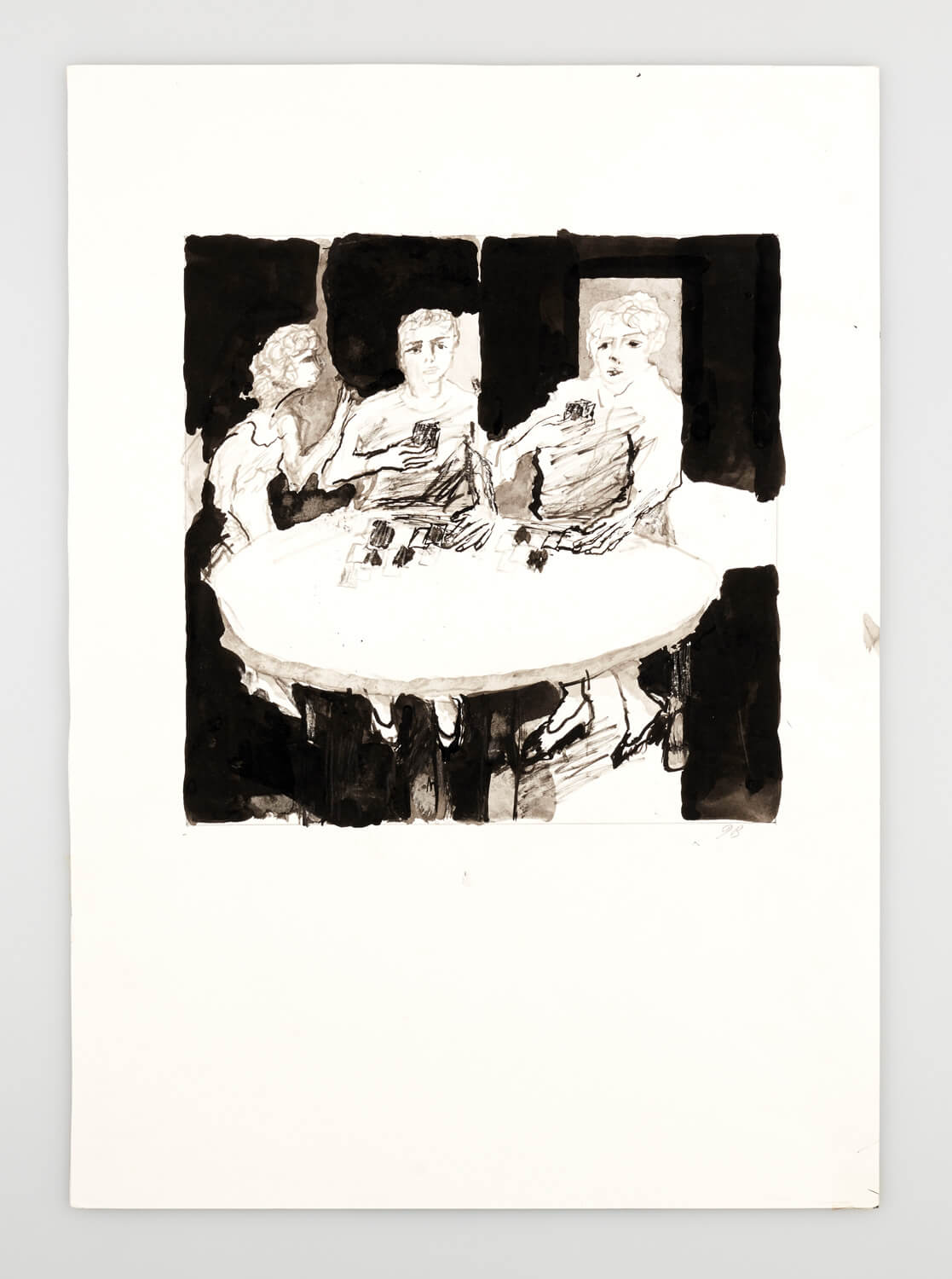JB101 - Card players at a round table - 2000 - 26 x 26 cm - Indian ink and was