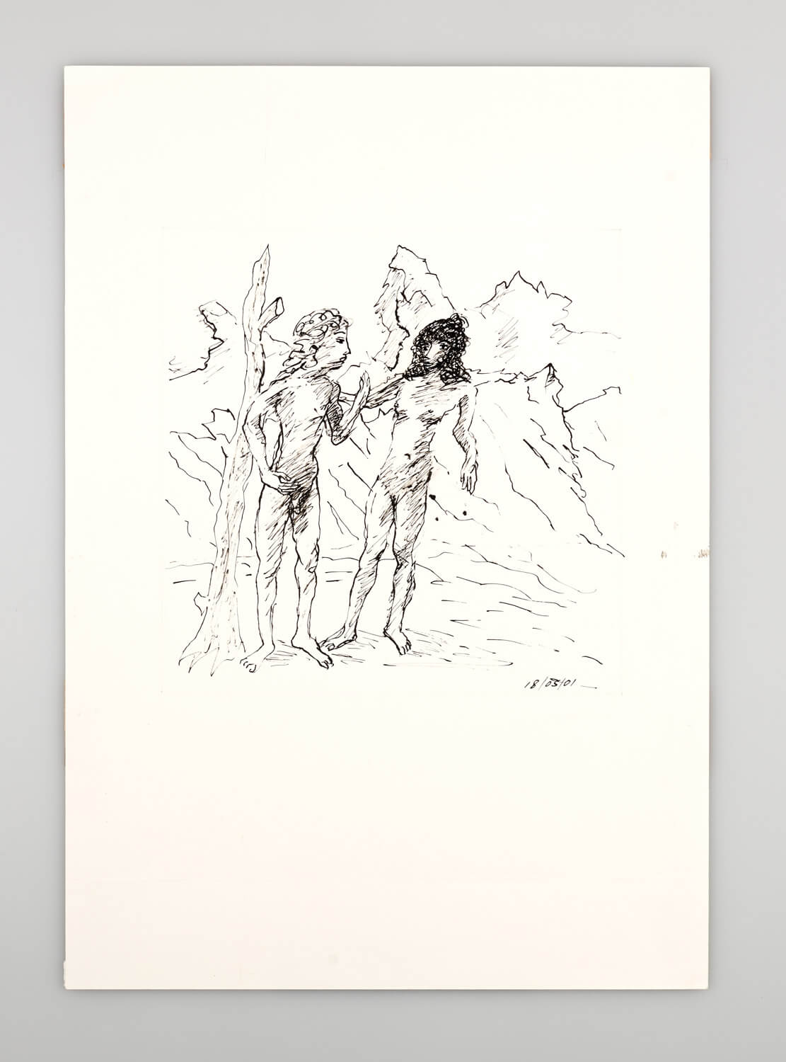 JB102 - Nude Man and Woman in a landscape - 2001 - 50 x 35 cm - Indian ink on paper