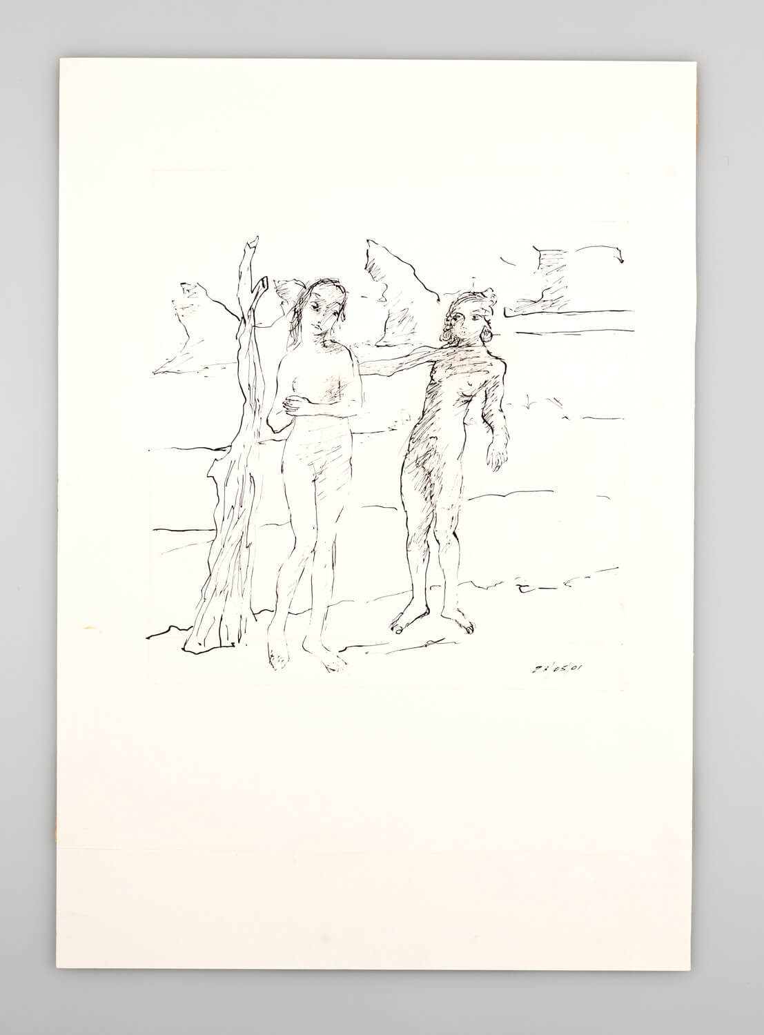 JB103 - Nude Man and Woman in a landscape - 2001 - 50 x 35 cm - Indian ink on paper