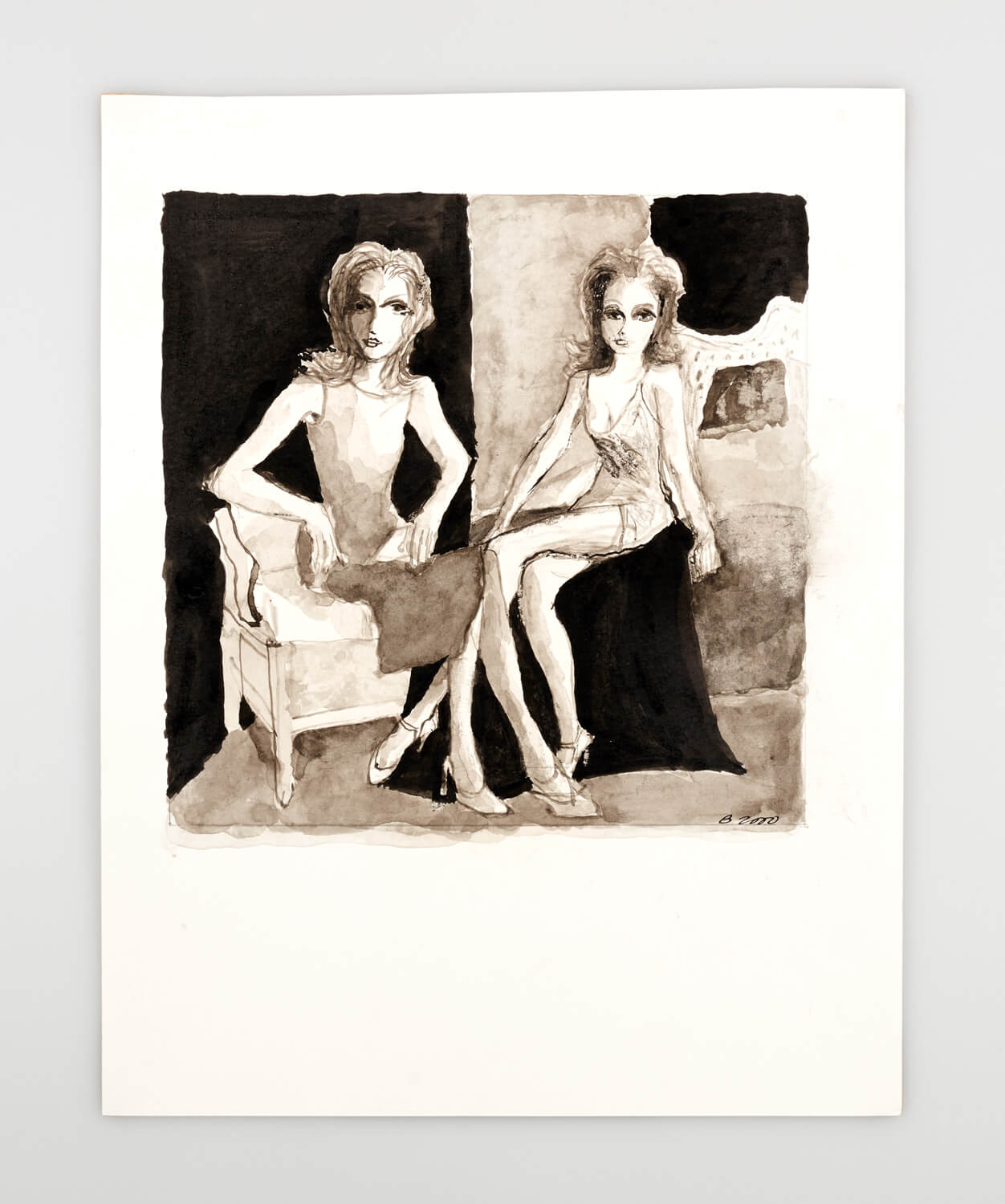 JB108 - Two Mannequins - 2000 - 28 x 28 cm - Indian ink and wash on paper