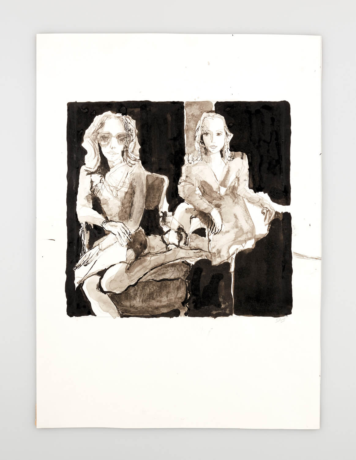 JB111 - Two Mannequins one wearing sunglasses - 2000 - 26 x 27 cm - Indian ink