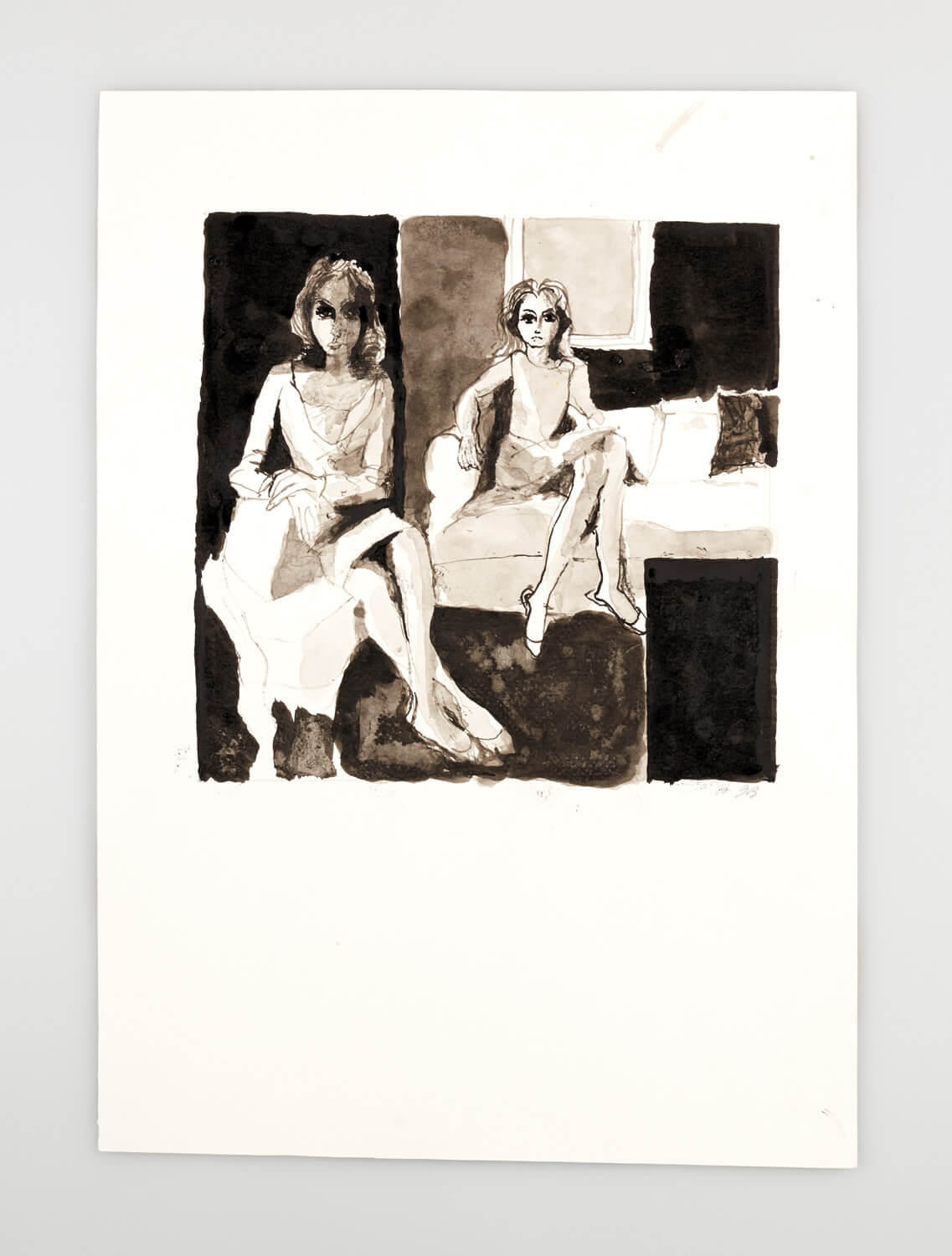 JB112 - Two Mannequins - 2000 - 26 x 27 cm - Indian ink and wash on paper