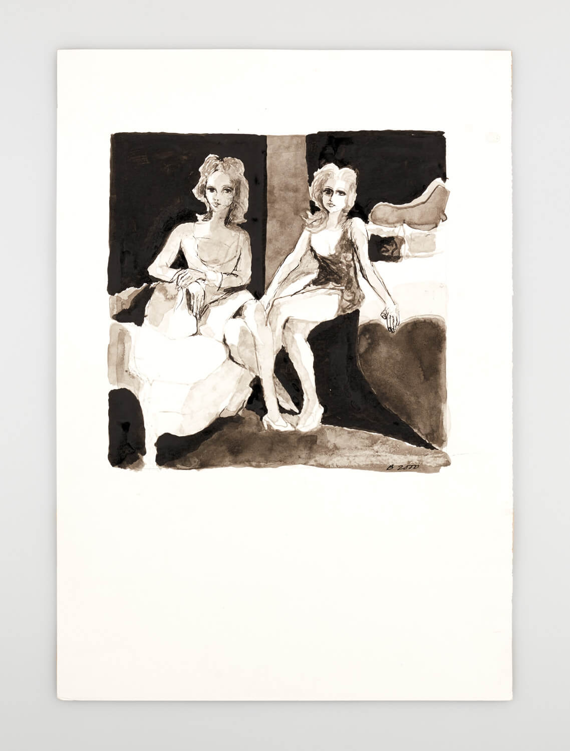 JB113 - Two Mannequins sitting in a bedroom - 2000 - 26 x 26 cm - Indian ink and wash on paper
