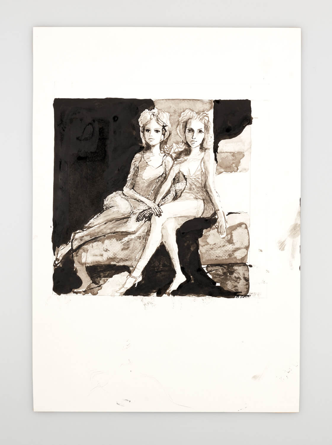 JB114 - Two Mannequins in a bedroom - 2000 - 26 x 26 cm - Indian ink and wash on paper