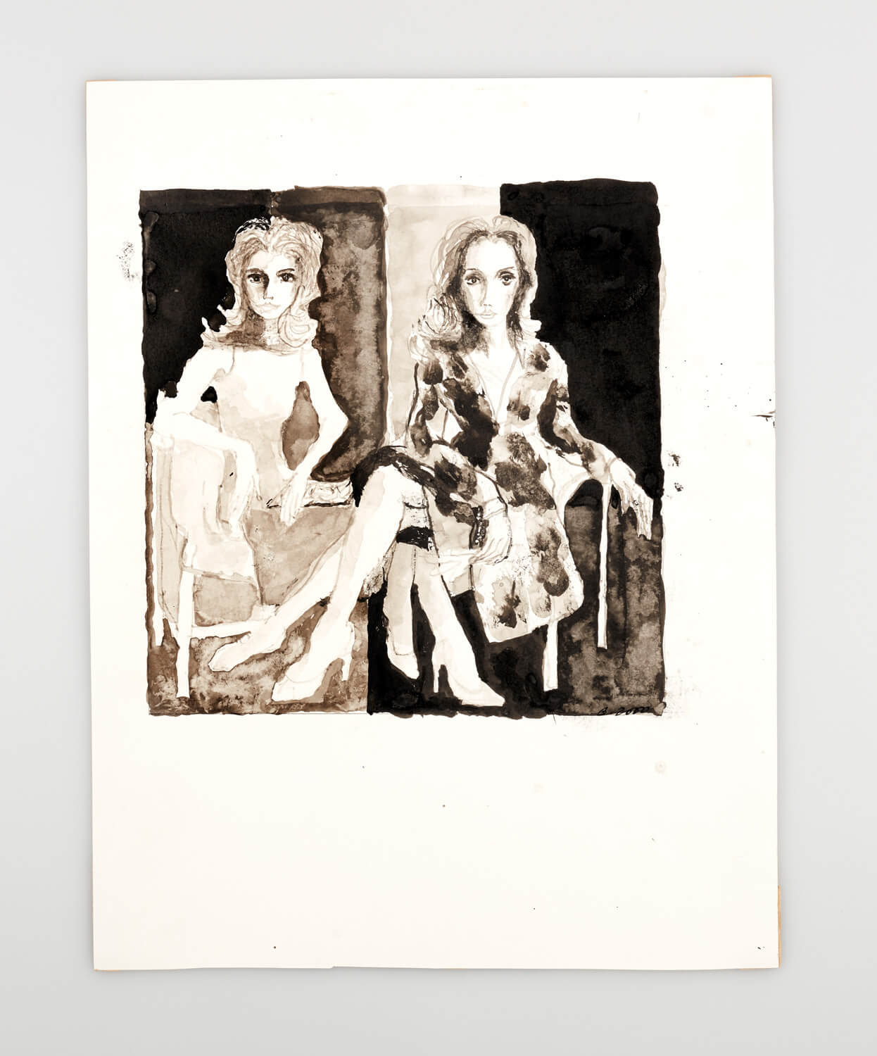 JB116 - Two Mannequins - 2000 - 27 x 26 cm - Indian ink and wash on paper