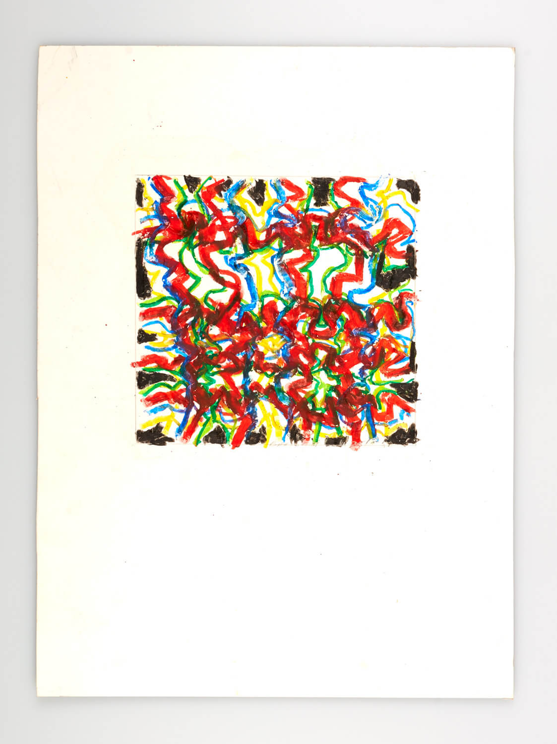 JB126 - Abstract, Black, Blue, Red, green - 2000 - 21 x 22 cm - Conte on card