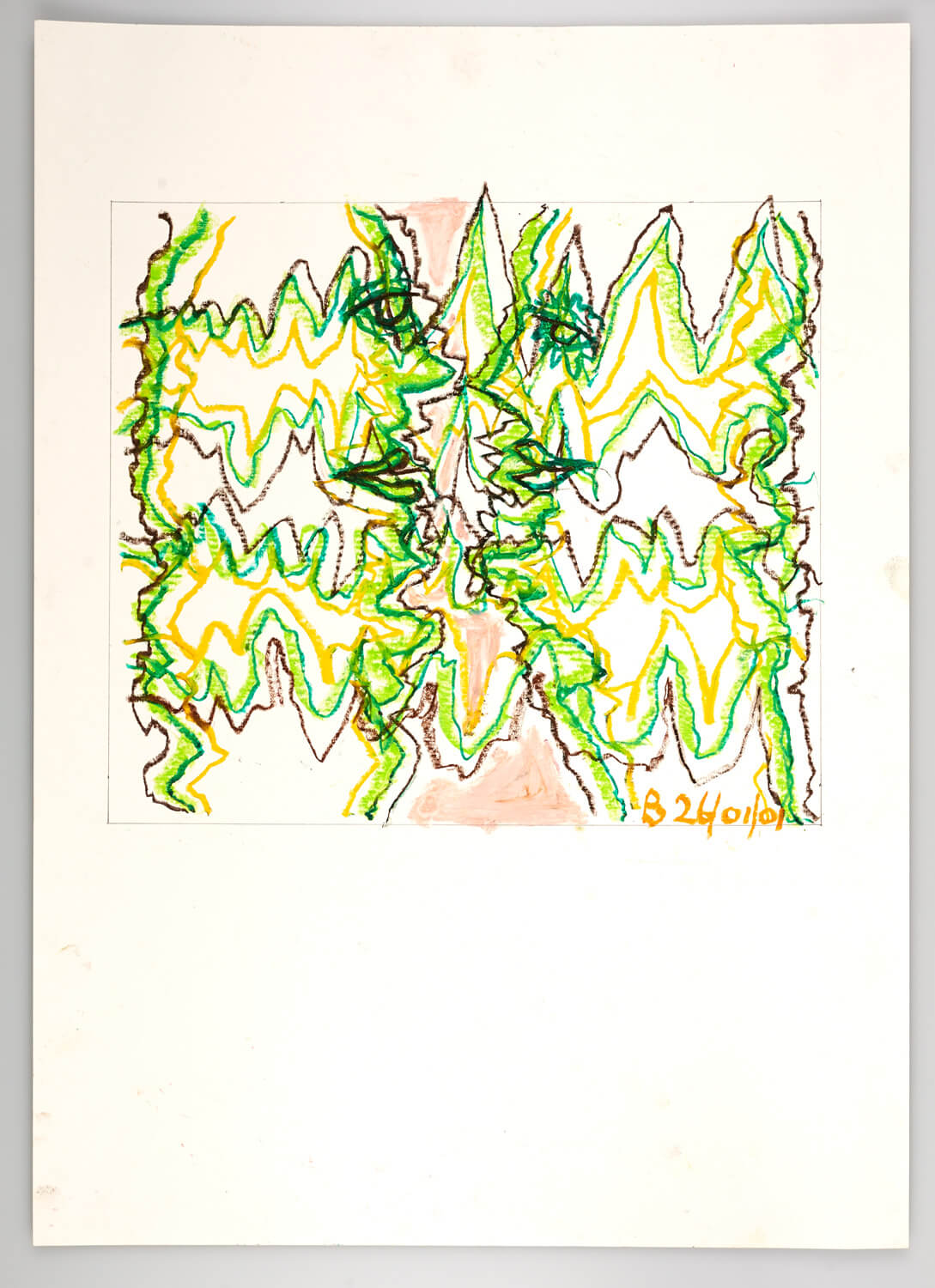 JB127 - Faces in a landscape - 2001 - 36 x 41 cm - Conte on paper