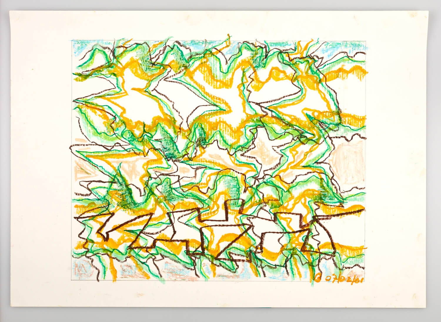 JB129 - Green, Yellow and Black Landscape - 2001 - 41 x 49 cm - Conte on paper