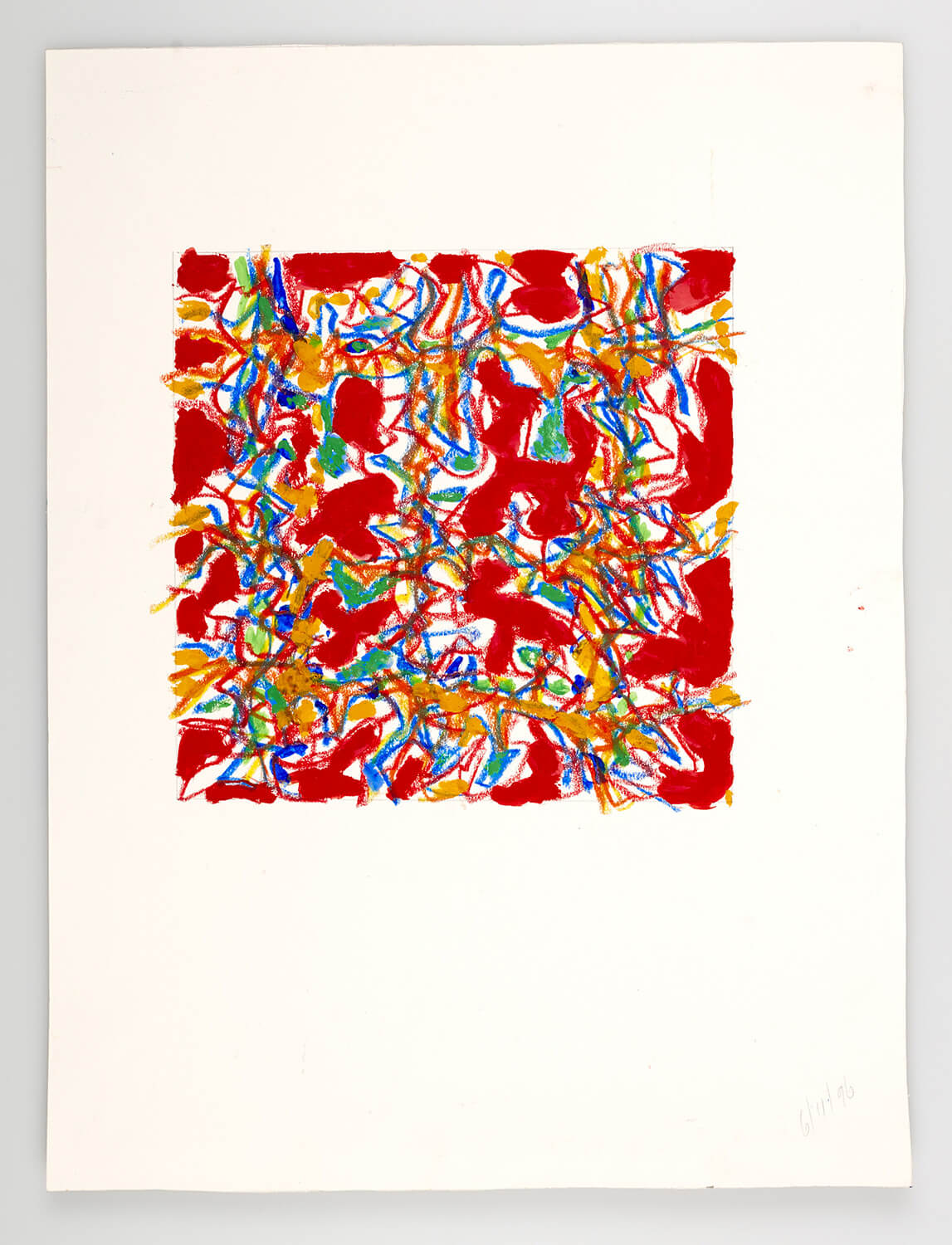 JB132 - Abstract Red - 1996 - 25 x 25 cm - Acrylic and conte on paper