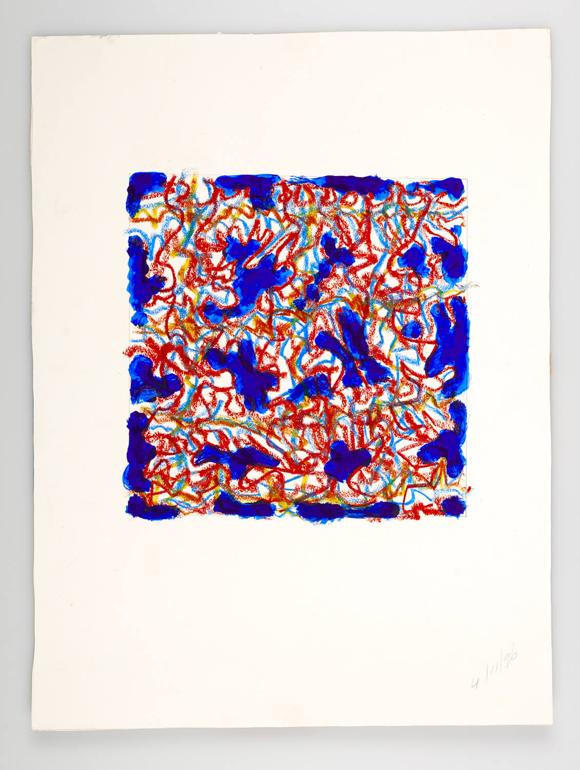JB133 - Abstract Blue - 1996 - 25 x 25 cm - Acrylic and conte on paper