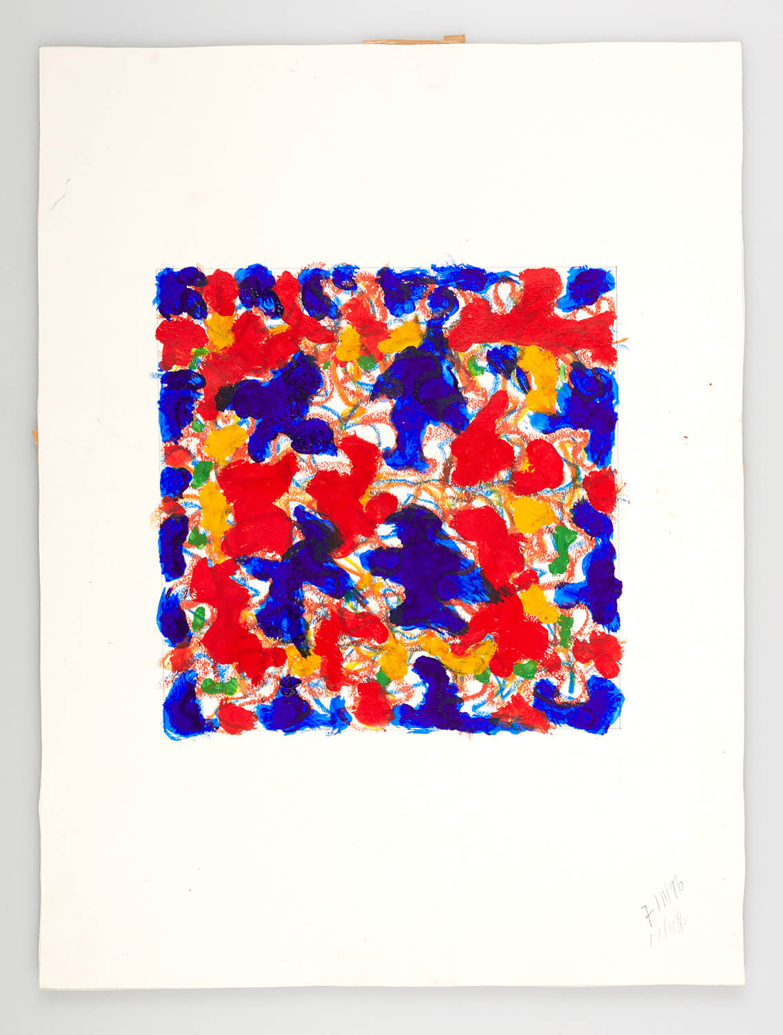 JB134 - Abstract Red and Blue - 1996 - 25 x 25 cm - Acrylic and conte on paper