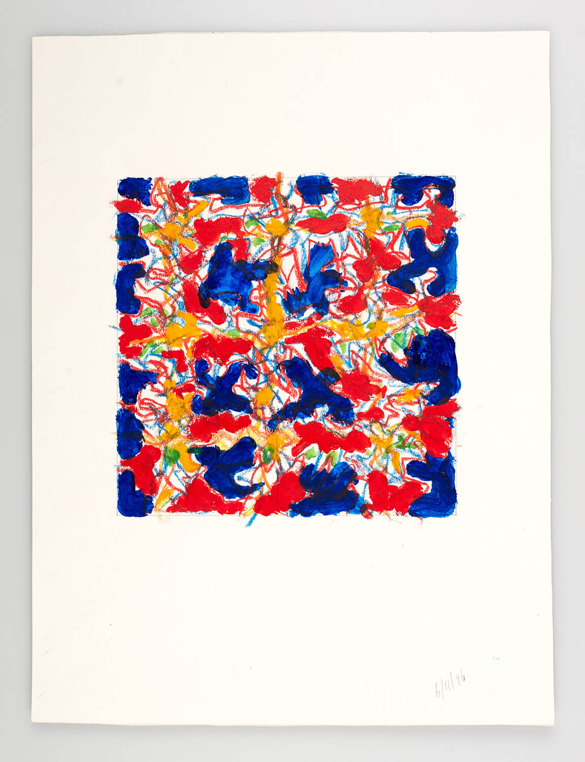 JB135 - Abstract Red and Blue - 1996 - 25 x 25 cm - Acrylic and conte on paper