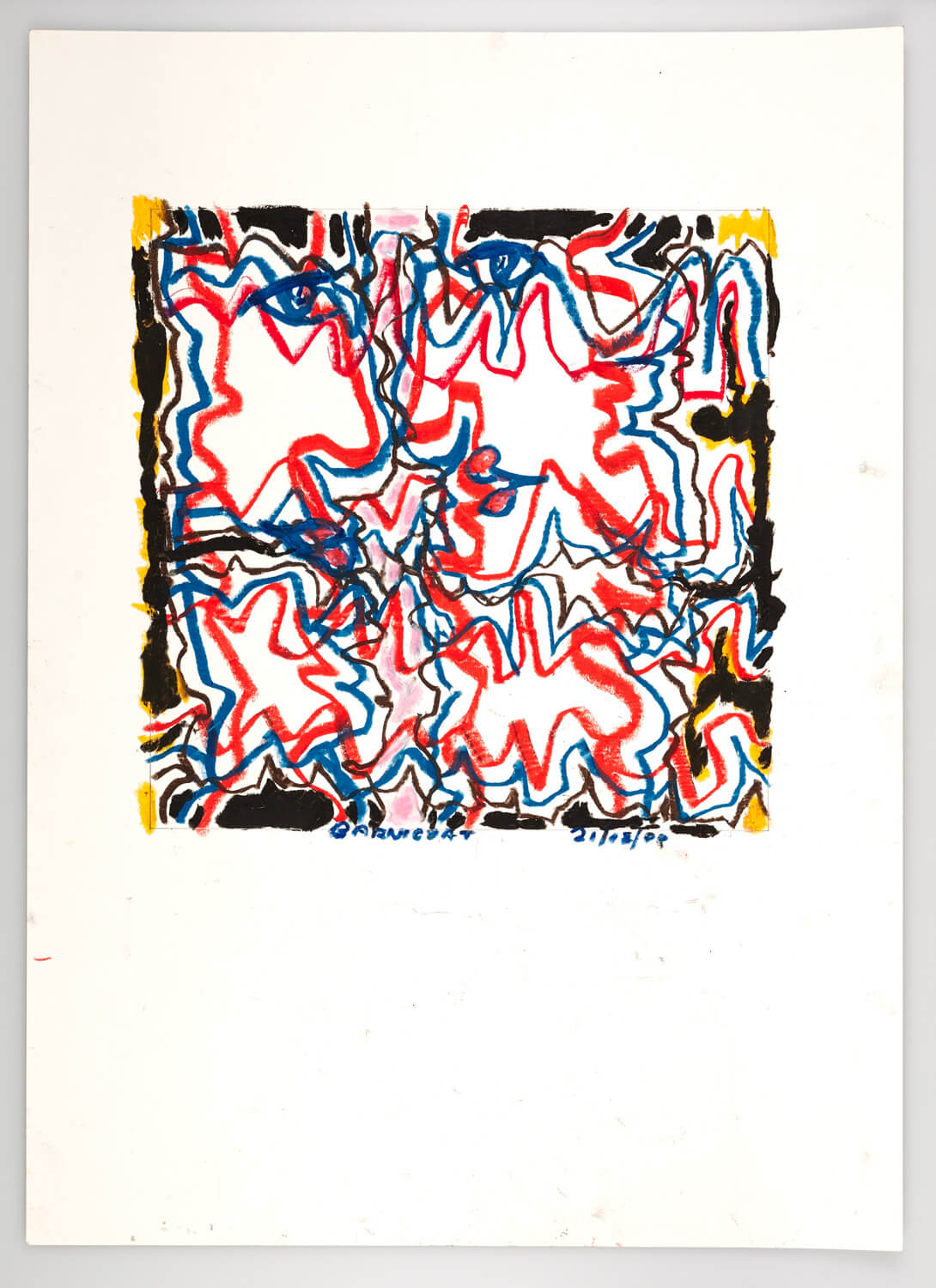 JB137 - Talking heads. Red and Blue - 2000 - 36 x 35 cm - Conte on paper