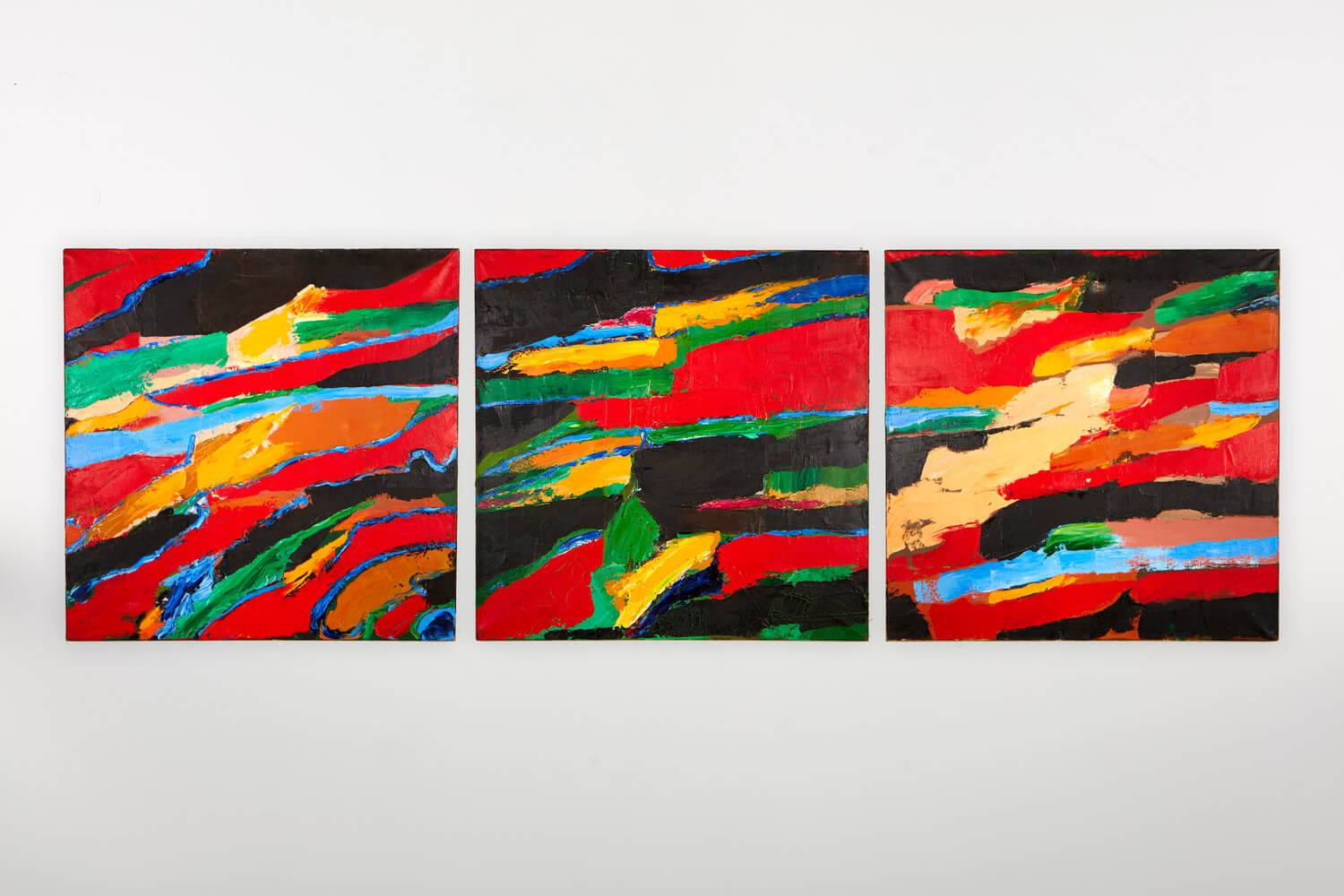 JB203 - Triptych 3 Canvases - 1993 - 76.5 x 76 cm - Oil on canvas