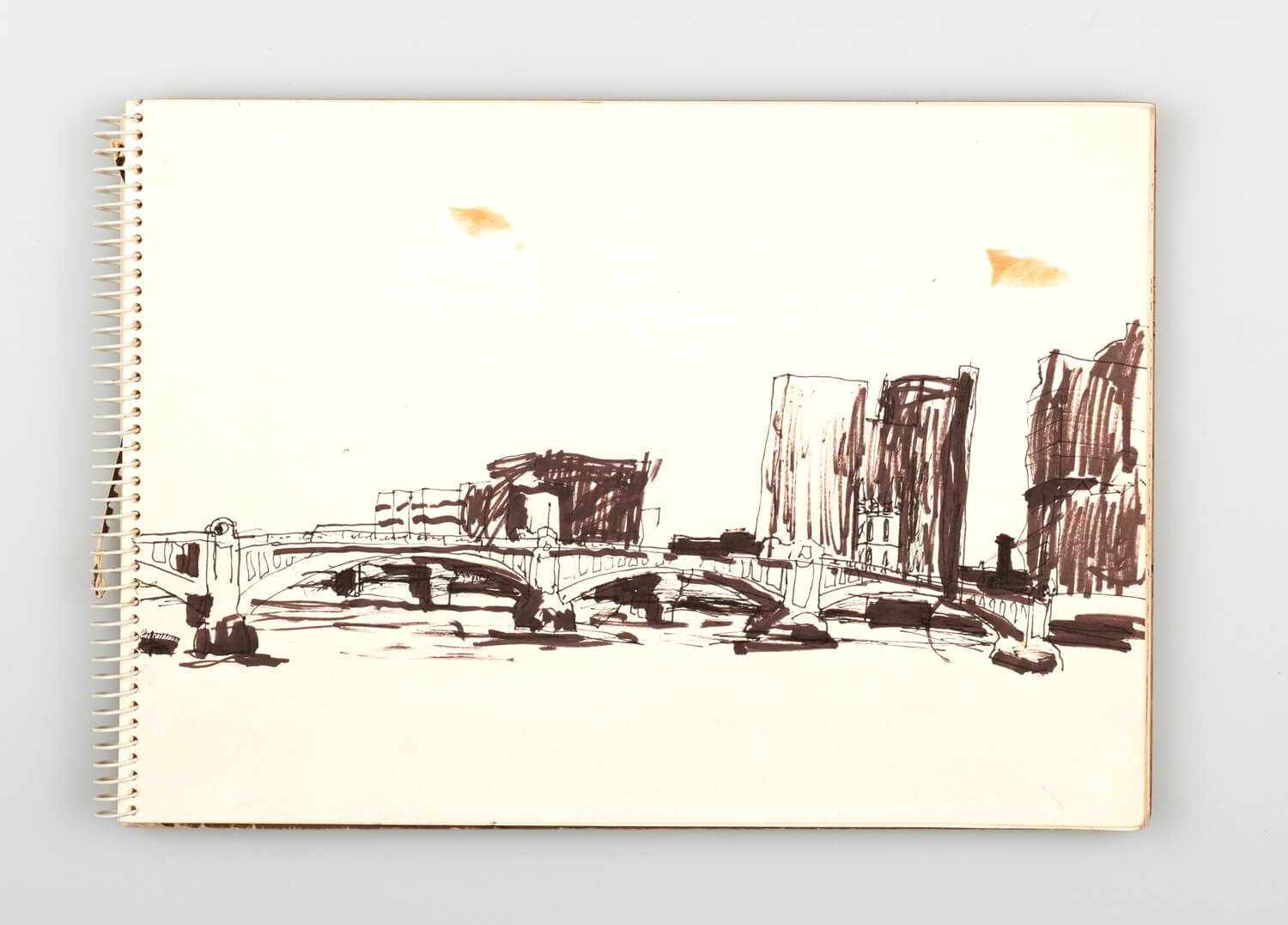JB217 - Sketch for Bridges on the River Thames - 1992 - 21 x 30 cm - Pen and Ink on cartridge paper