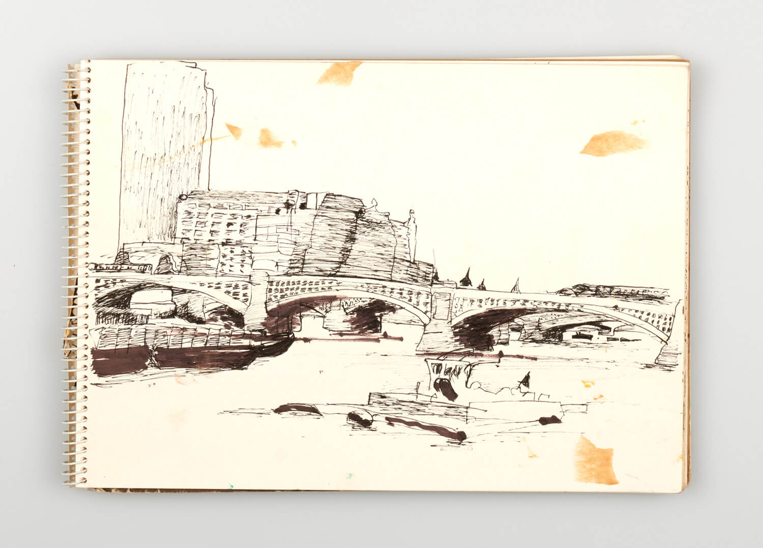 JB218 - Sketch for Bridges on the River Thames - 1992 - 21 x 30 cm - Pen and Ink on cartridge paper