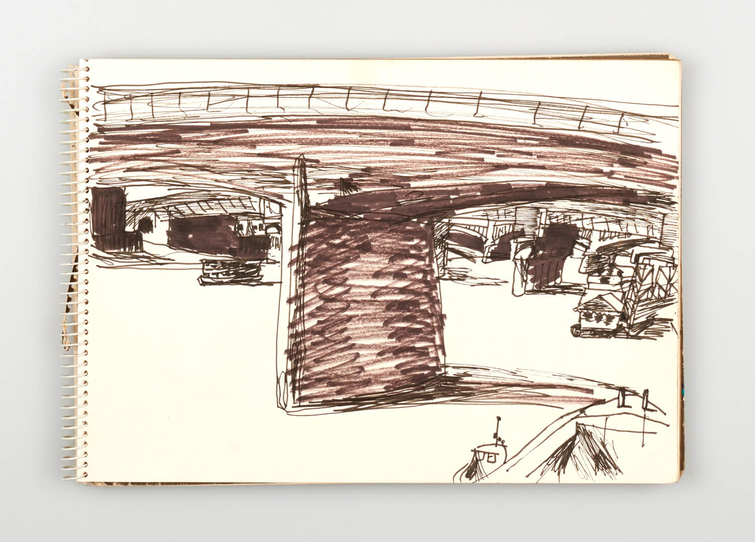 JB223 - Sketch for Bridges on the River Thames - 1992 - 21 x 30 cm - Pen and Ink on cartridge paper