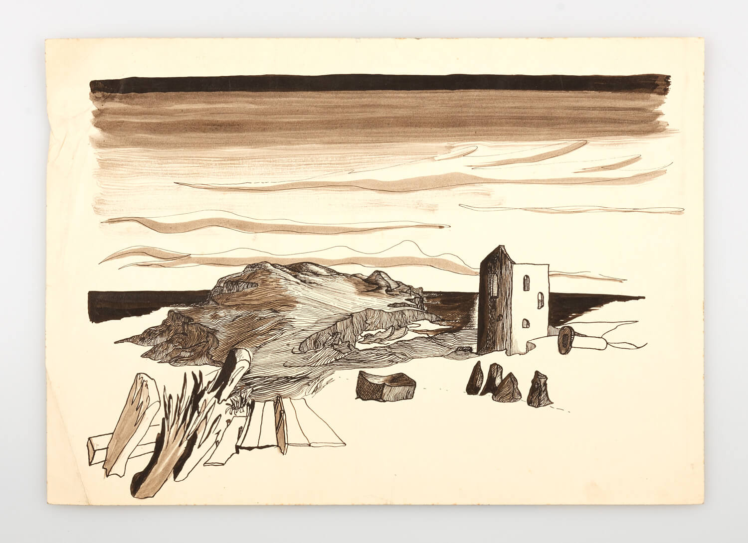 JB252 - Cornish Landscape - 1946 - 25 x 35.5 cm - Pen and ink