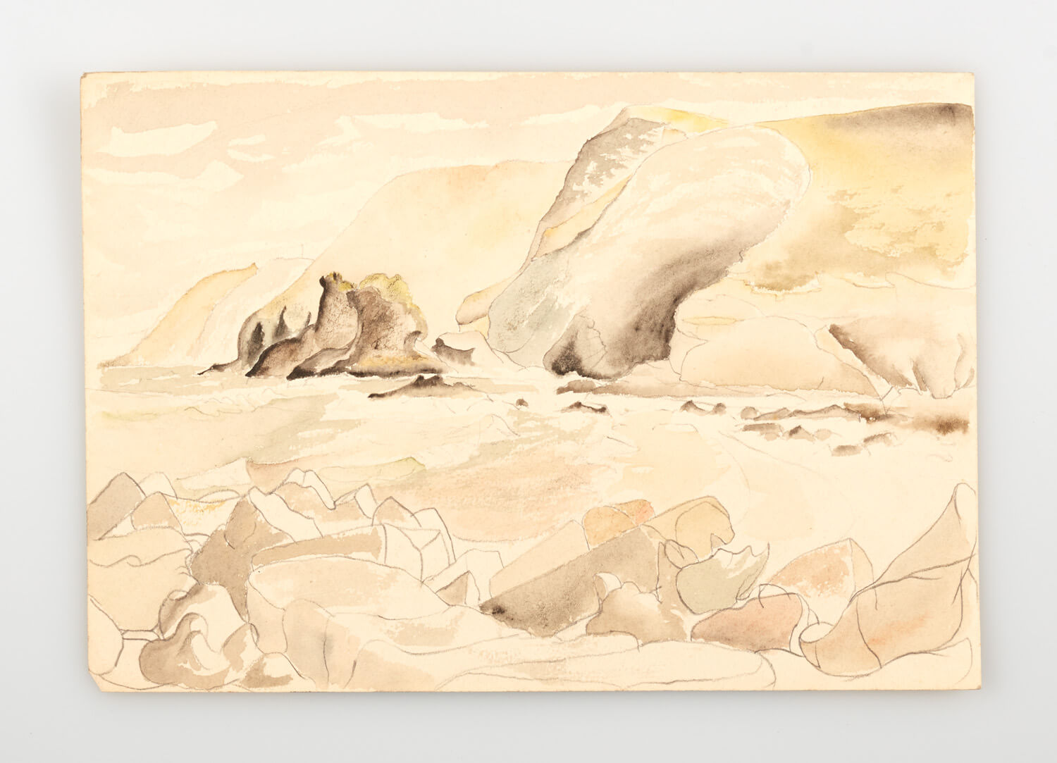 JB255 - Rock and sea, Cornwall sketch - 1946 - 17.5 25 cm - Watercolour