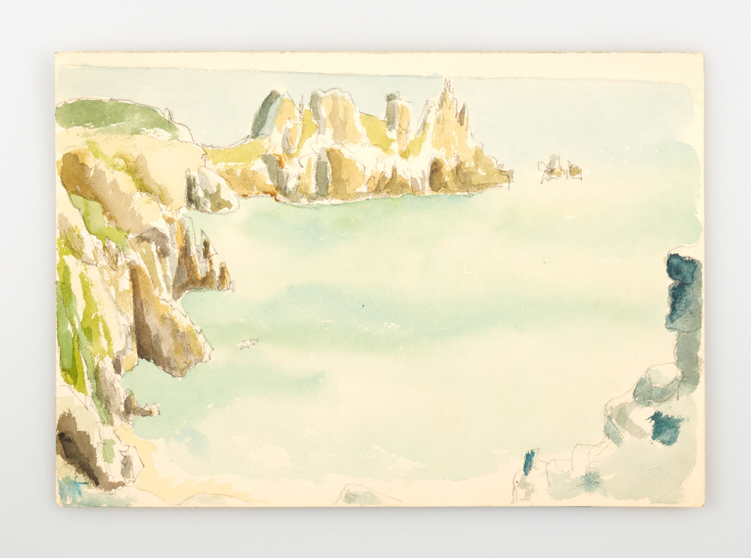 JB257 - Rock and sea, Cornwall sketch - 1946 - 18 x 25.5 cm - Watercolour