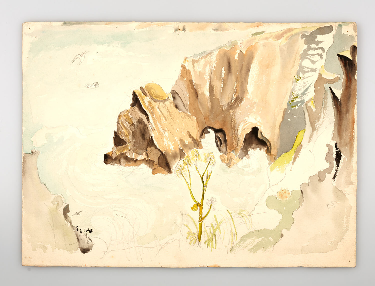 JB260 - Rock and sea, Cornwall sketch - 1946 - 28.5 x 39 cm - Watercolour
