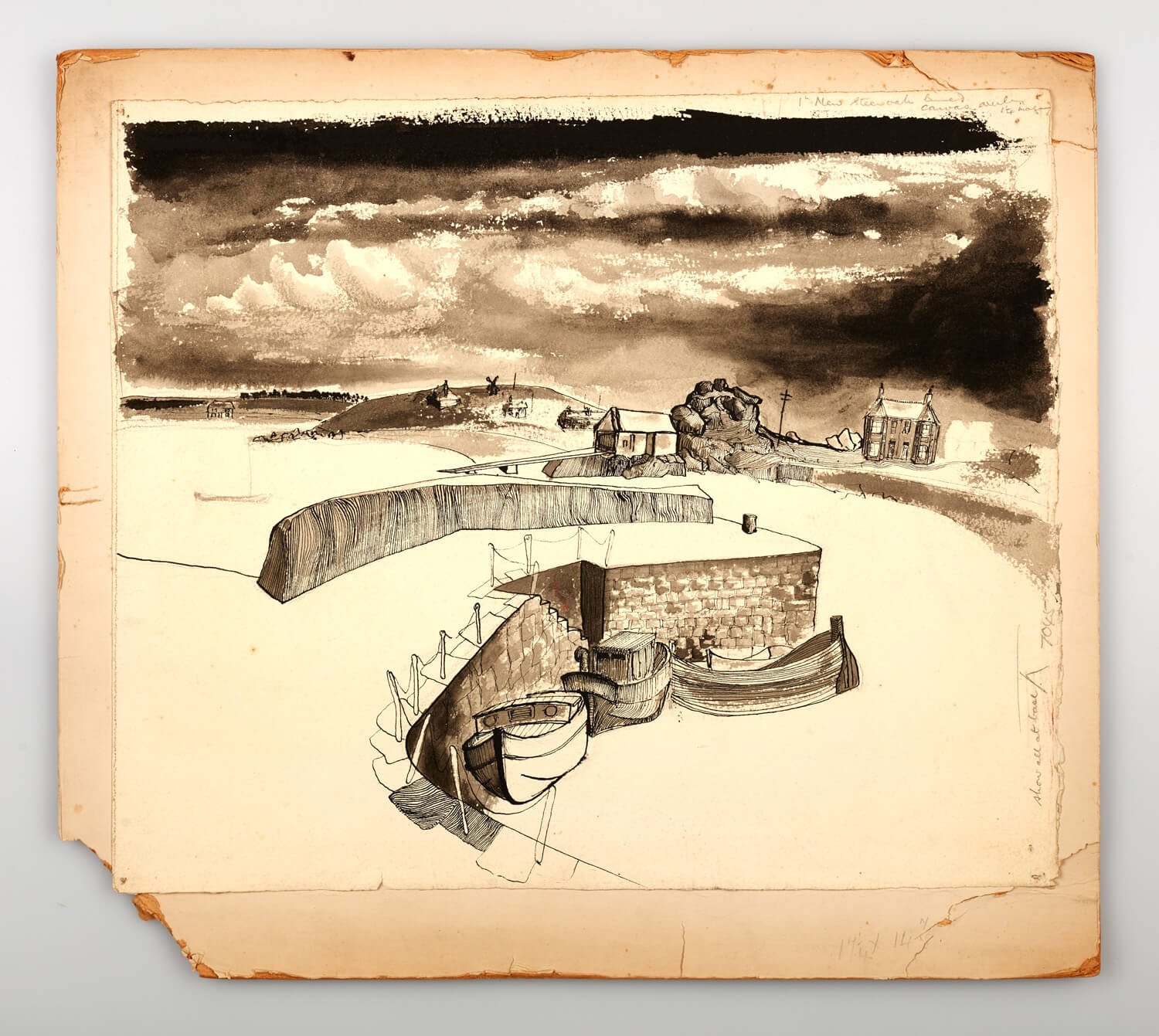 JB261 - Cornish Harbour - 1946 - 39 x 47 cm - Pen and ink and wash