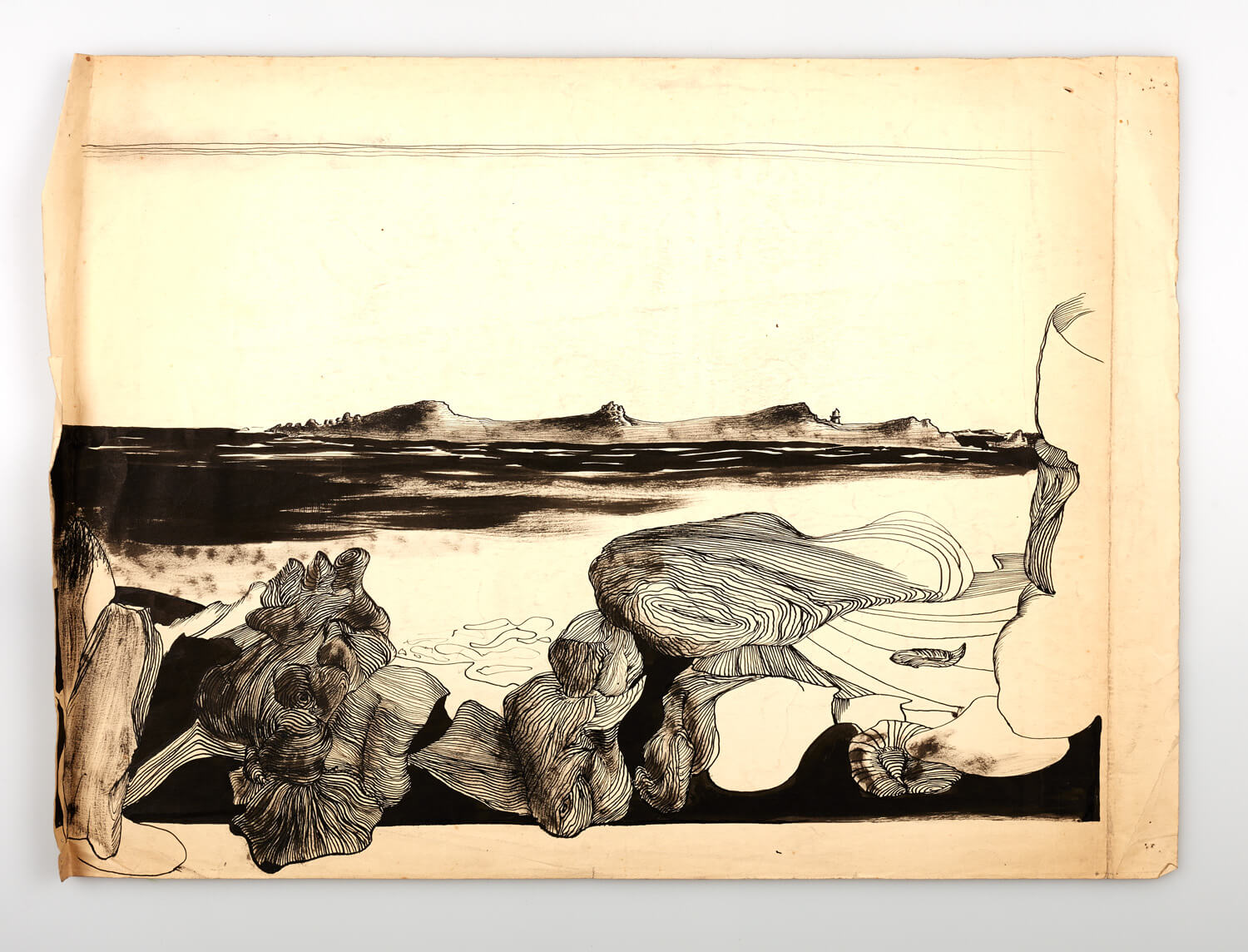 JB263 - Rocks and sea, Cornwall - 1946 - 34 x 53 cm - Pen and ink and wash