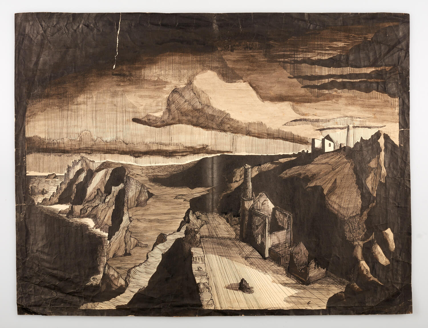 JB264 - Rocks and sea, Cornwall - 1946 - 51 x 68 cm - Pen and ink and wash